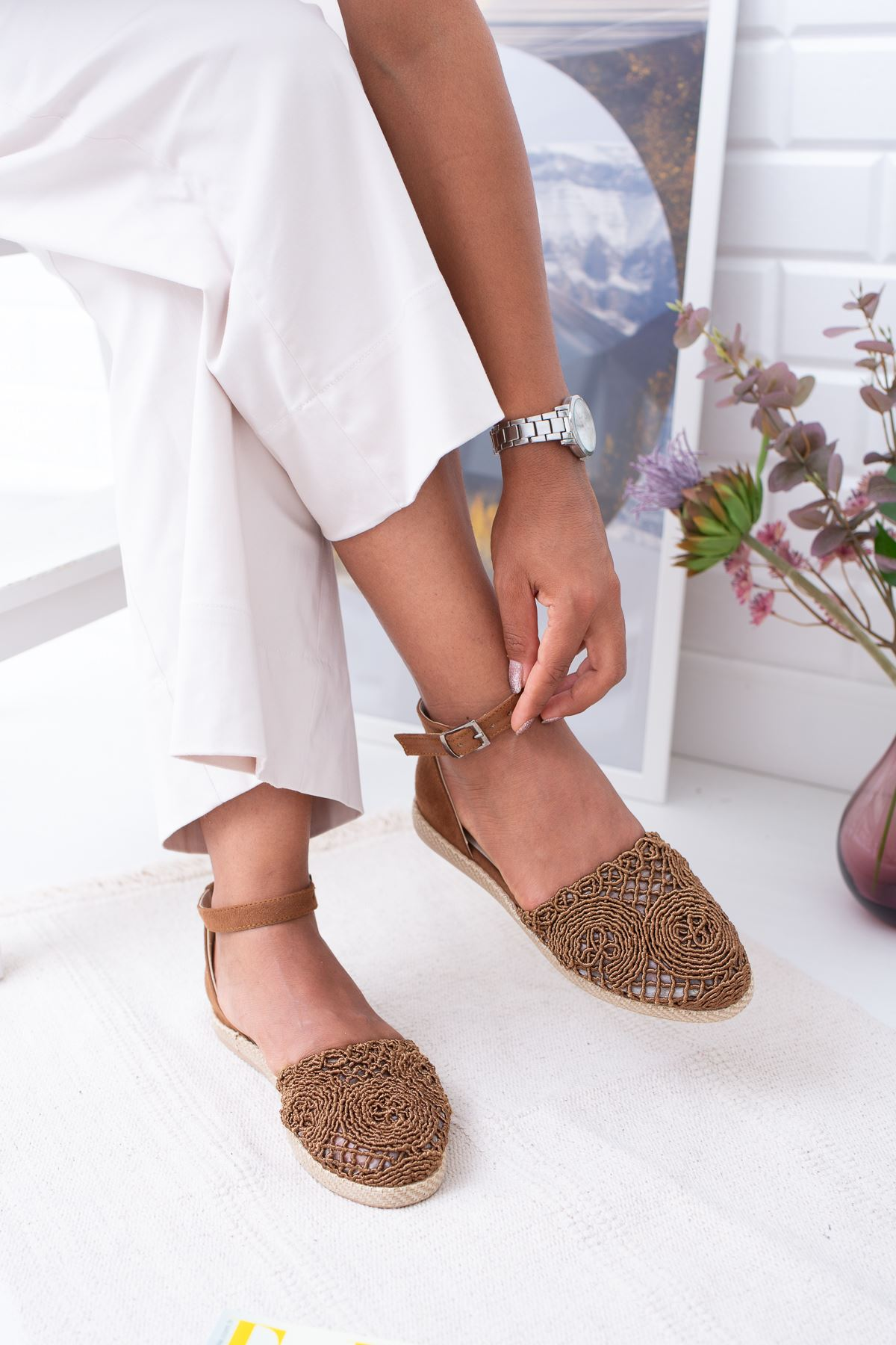 Örgülü Vizon Sandalet