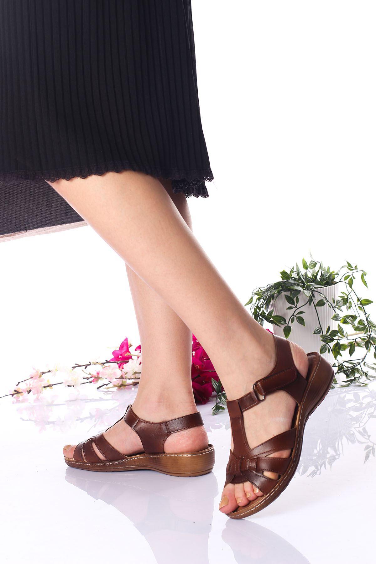 Ortopedik Ped İçi Deri Alçak Taban Taba Sandalet