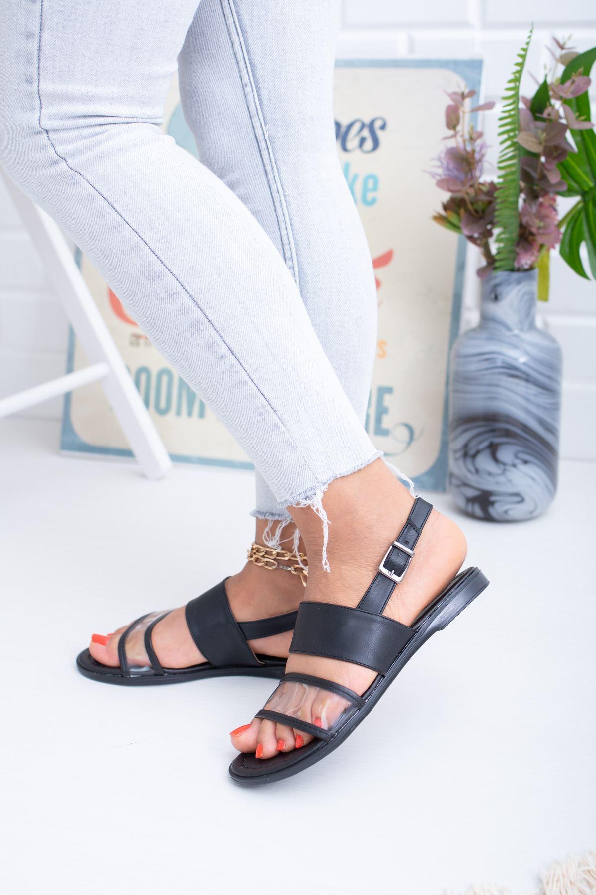 Şeffaf Siyah Sandalet