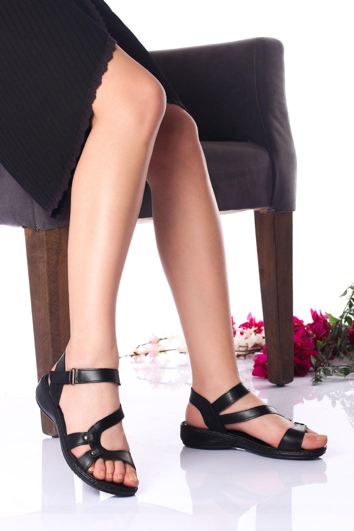 Ortopedik Ped İçi Deri Alçak Taban Siyah Cilt Sandalet