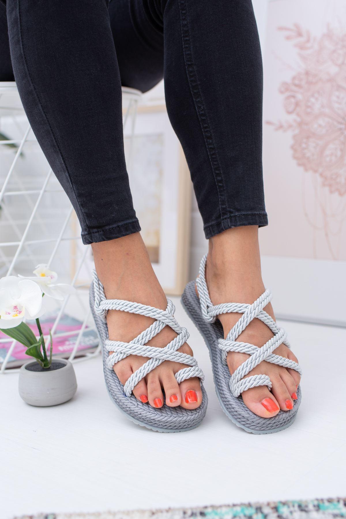 Halatlı Gümüş Sandalet