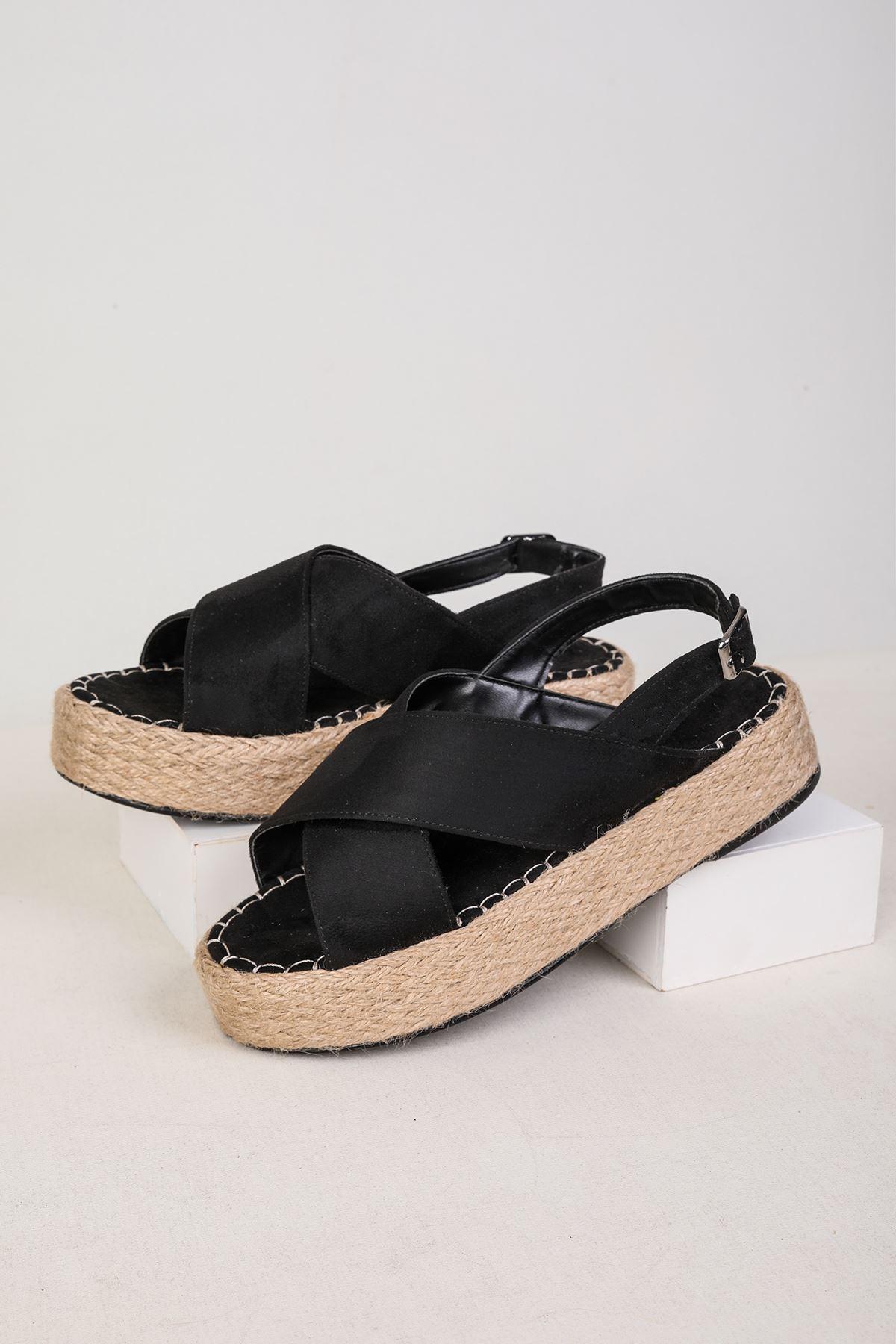 Jüt Taban Siyah Süet Sandalet
