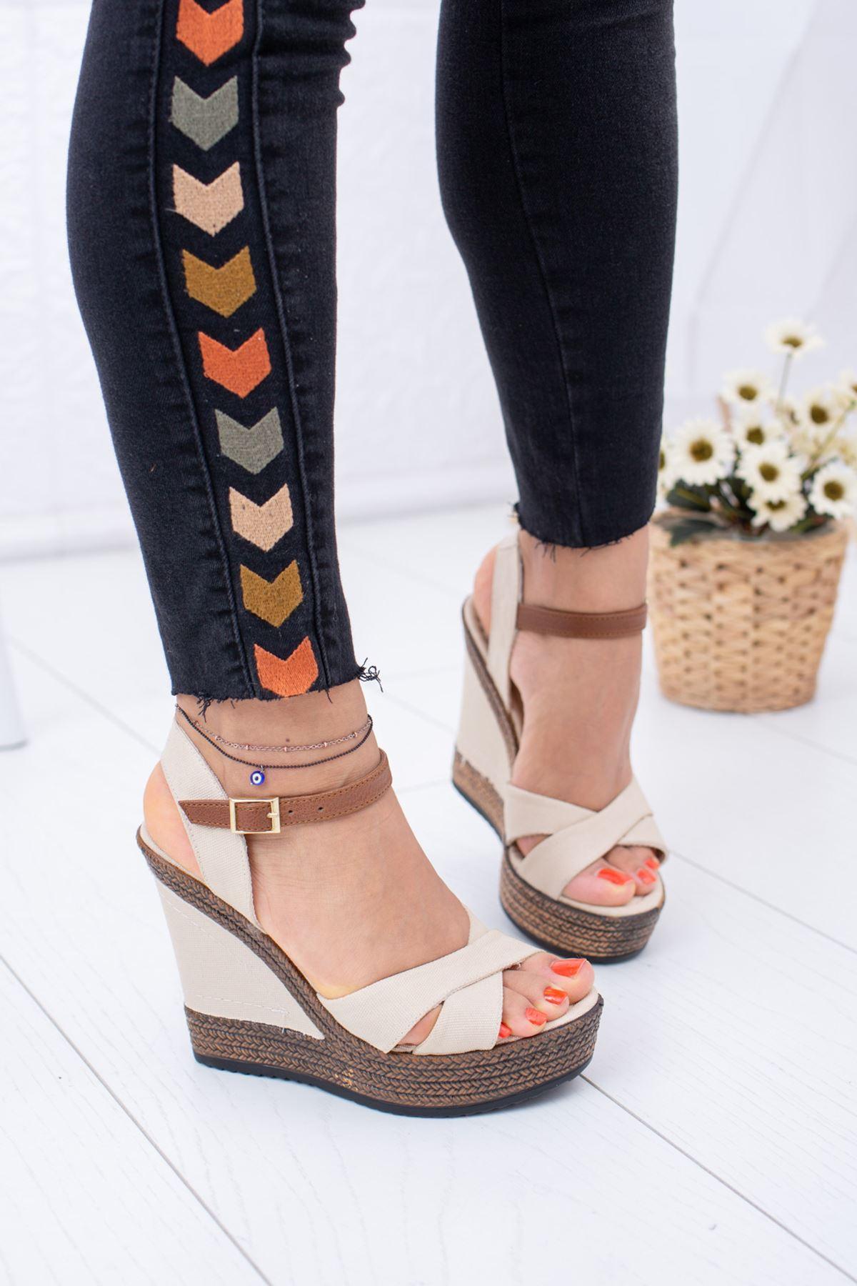 Dolgu Taban Ten Keten Sandalet