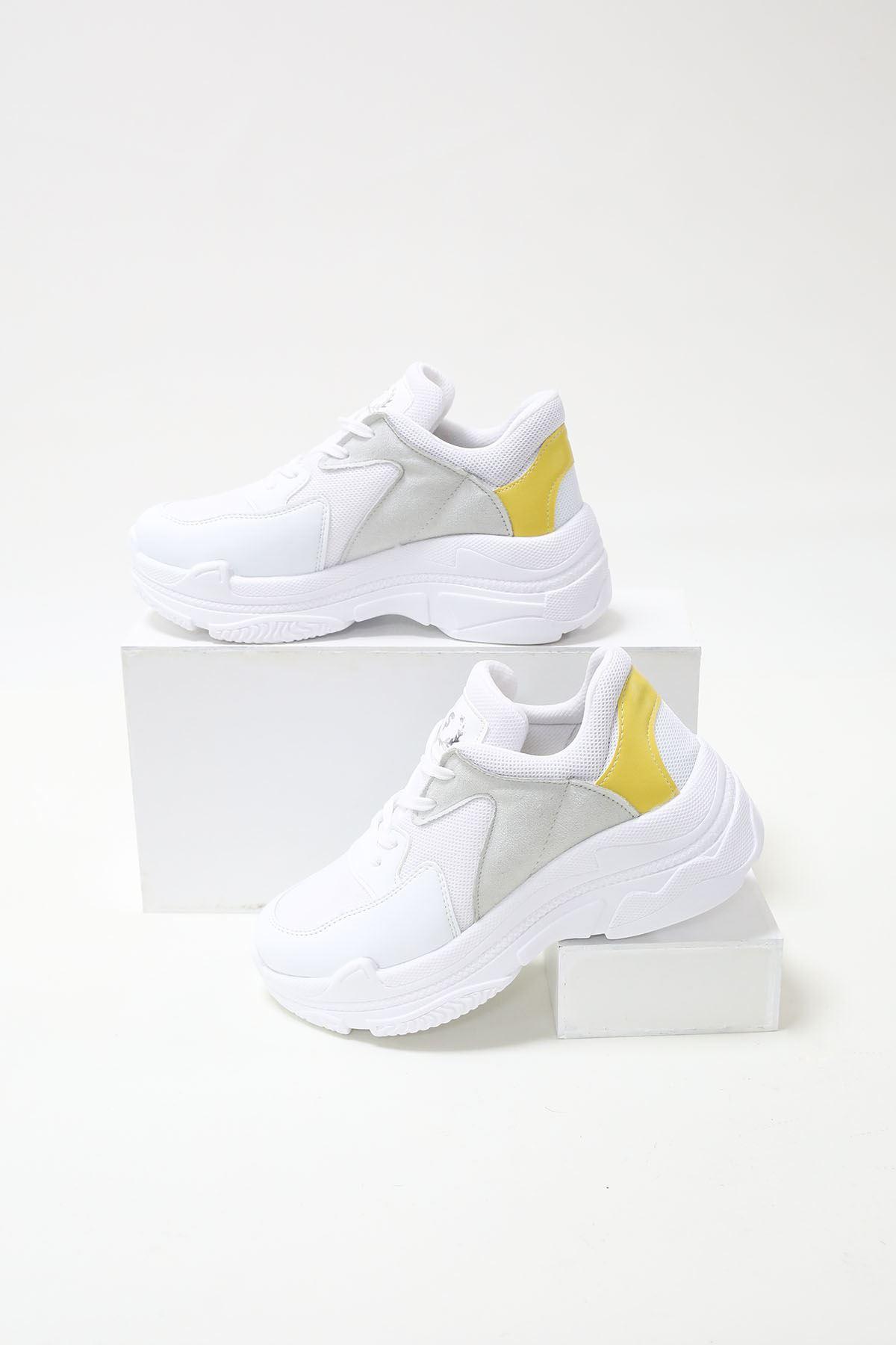 Loic Sarı Garnili Beyaz Spor Ayakkabı