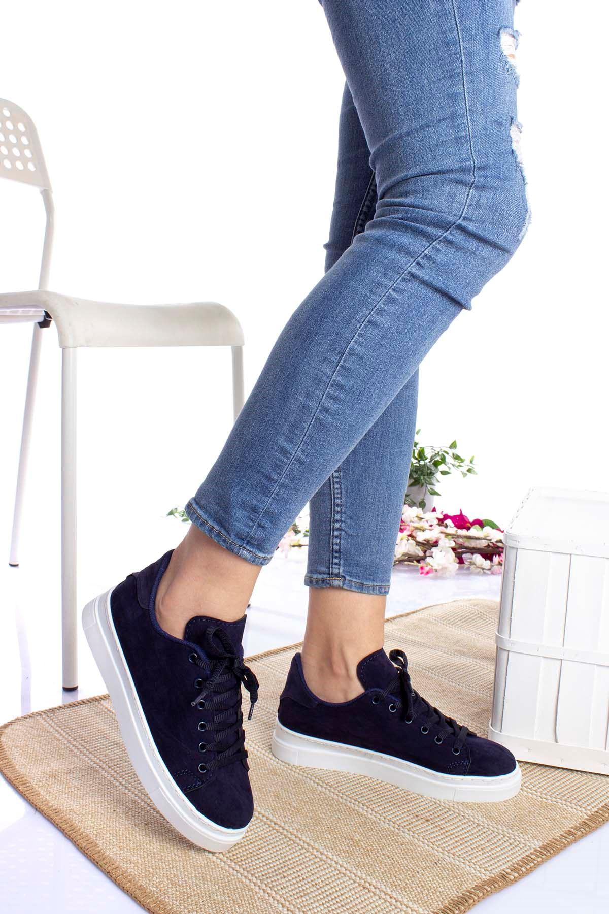 Bağcıklı Lacivert Kadın Ayakkabı