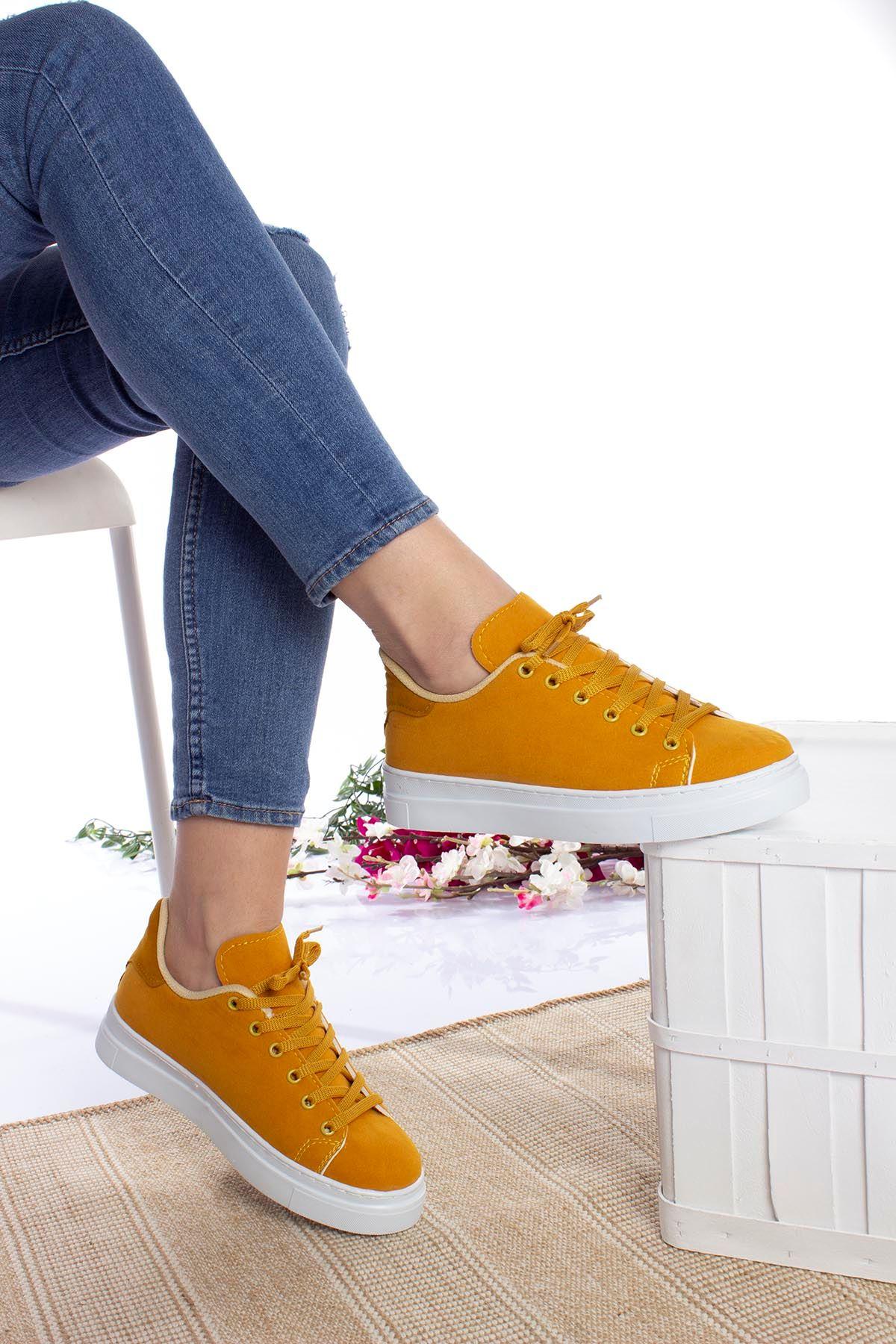 Bağcıklı Hardal  Kadın Ayakkabı