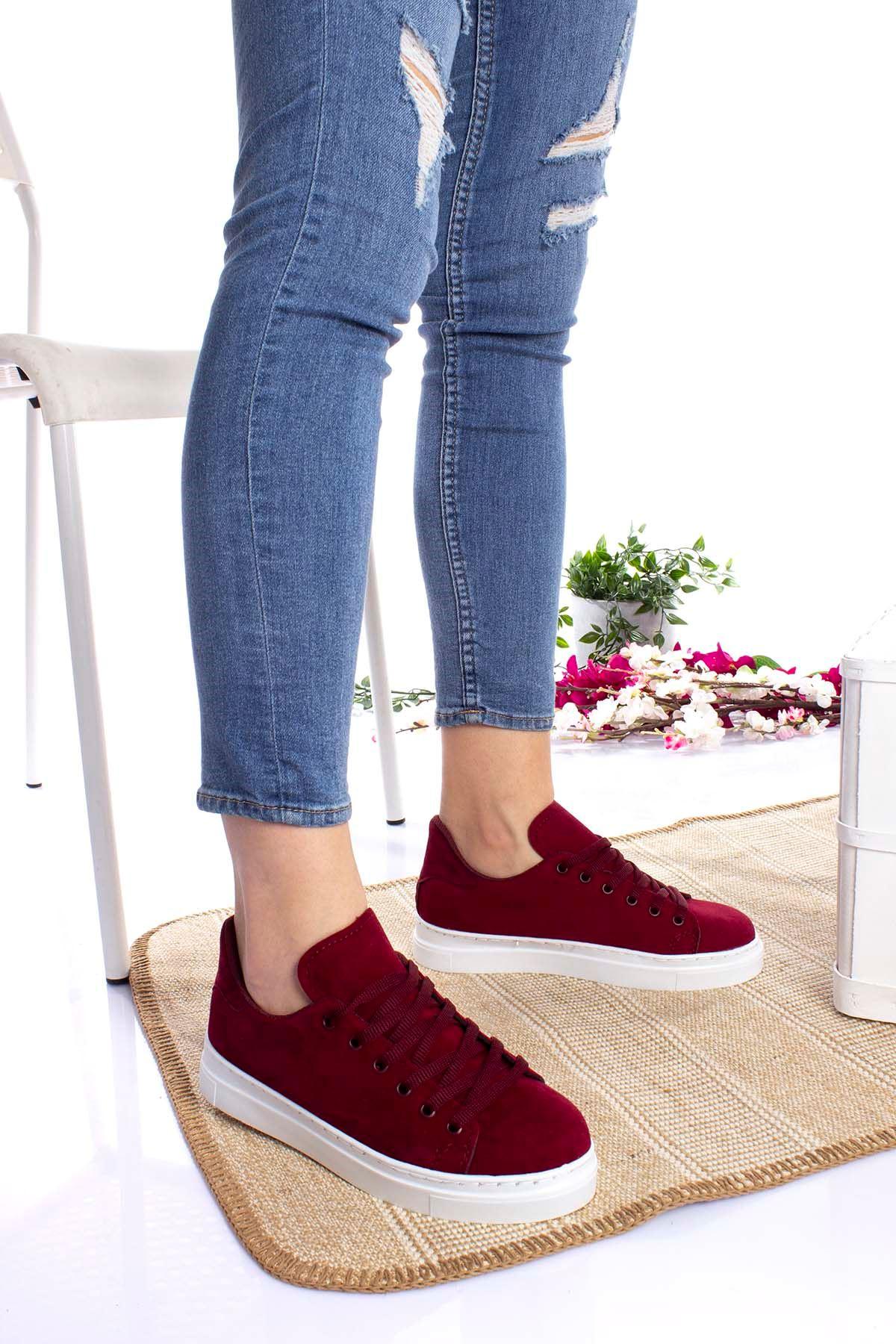 Bağcıklı Bordo Kadın Ayakkabı