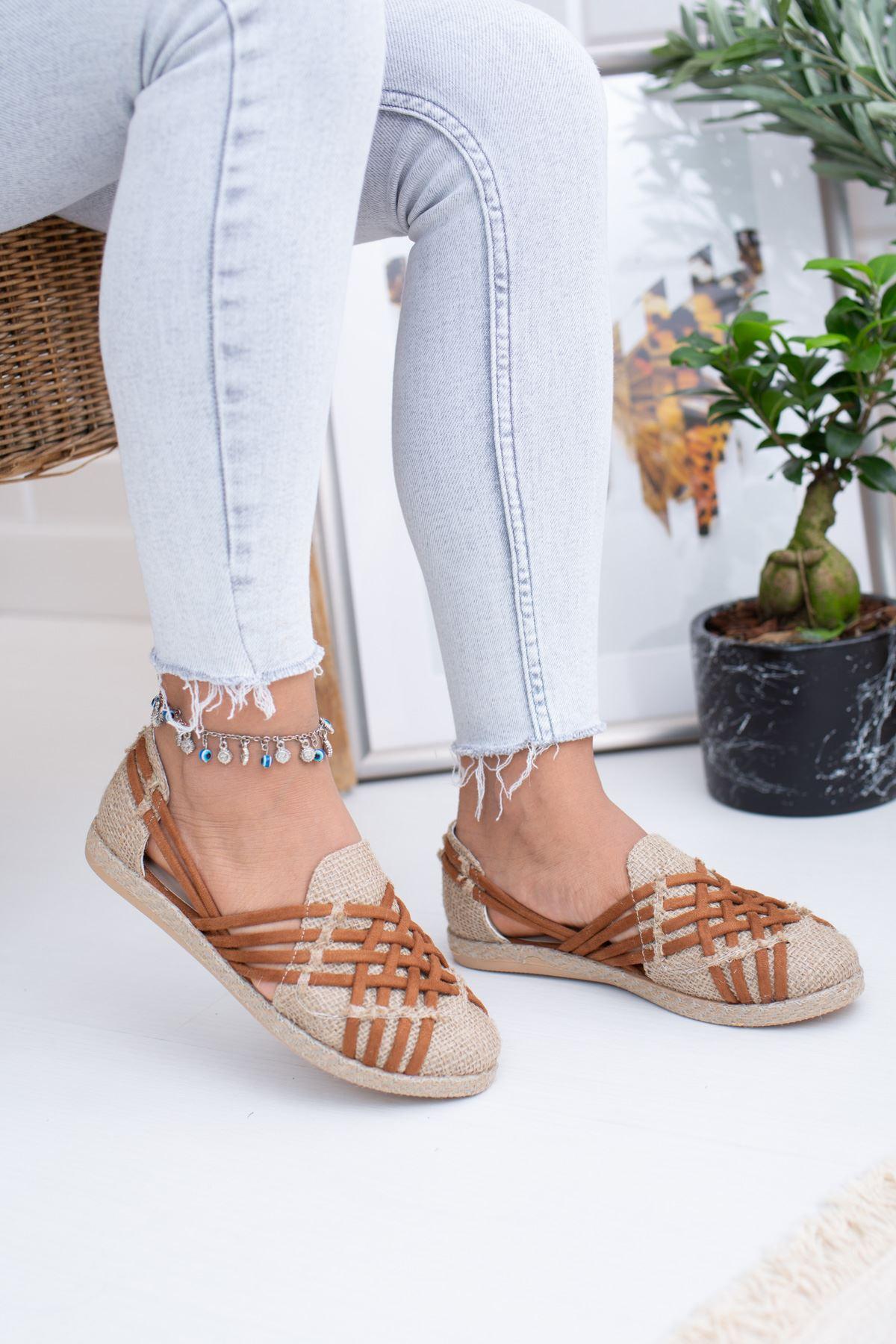 Örgülü Taba Hasır Kadın Ayakkabı