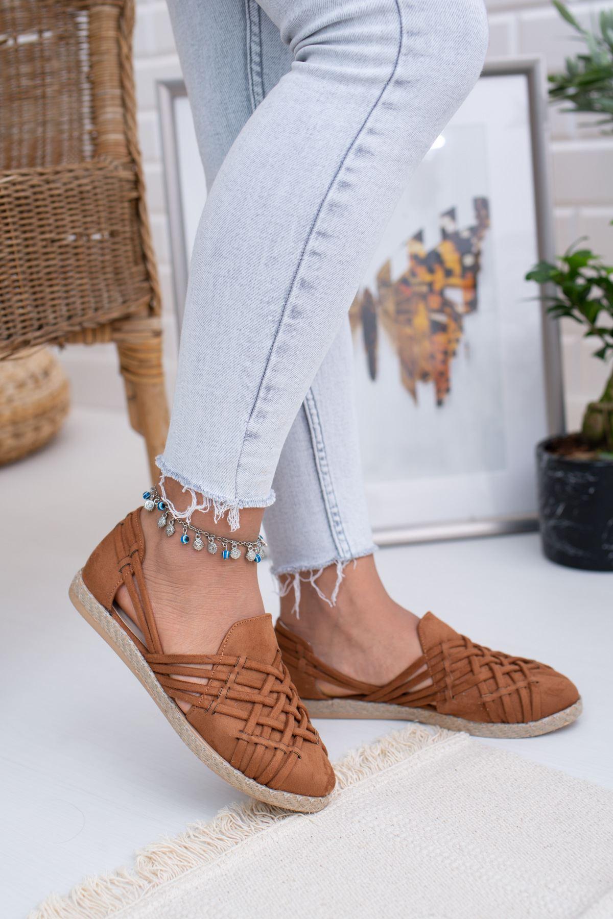 Örgülü Taba Süet Kadın Ayakkabı