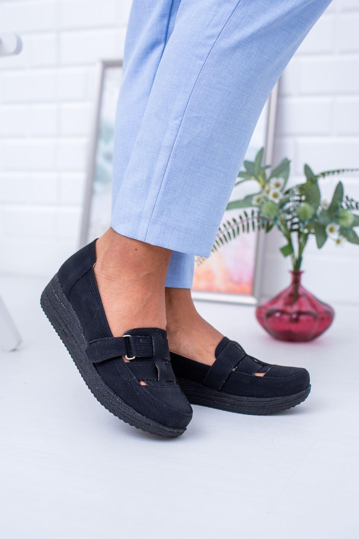 Dolgu Taban Ortopedik Pedli Cırtlı Siyah Ayakkabı