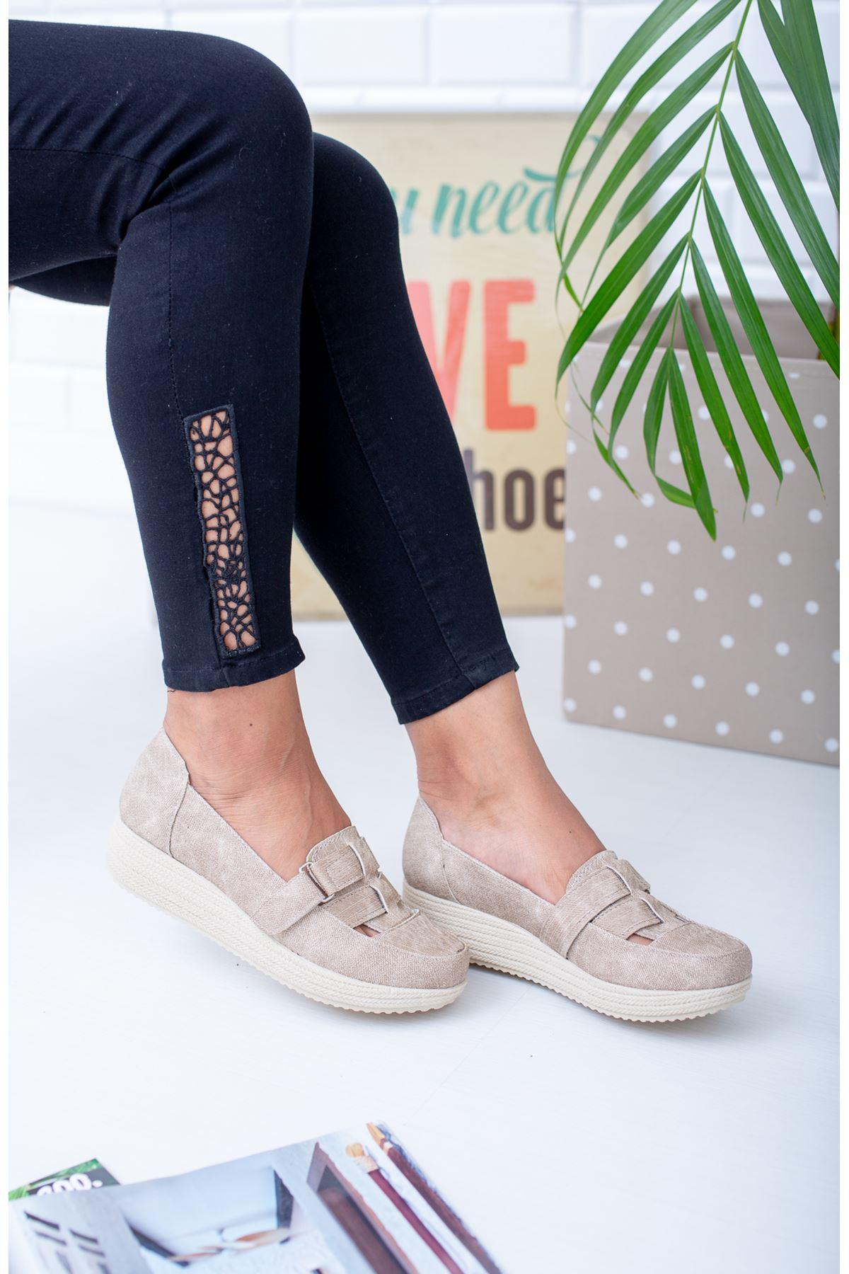 Dolgu Taban Cırtlı Ortopedik Pedli Vizon Ayakkabı