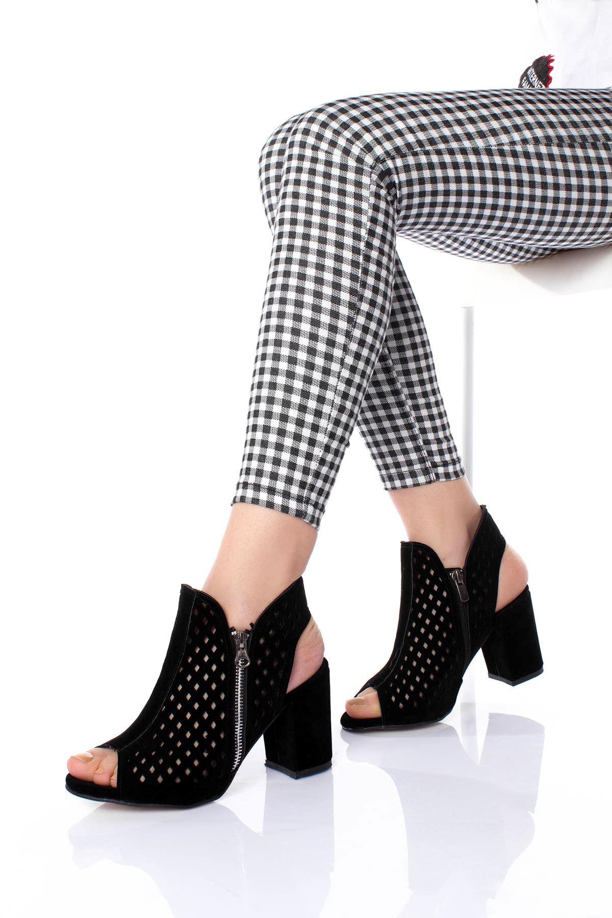 Burnu Açık Kafes Model Kadın ayakkabı