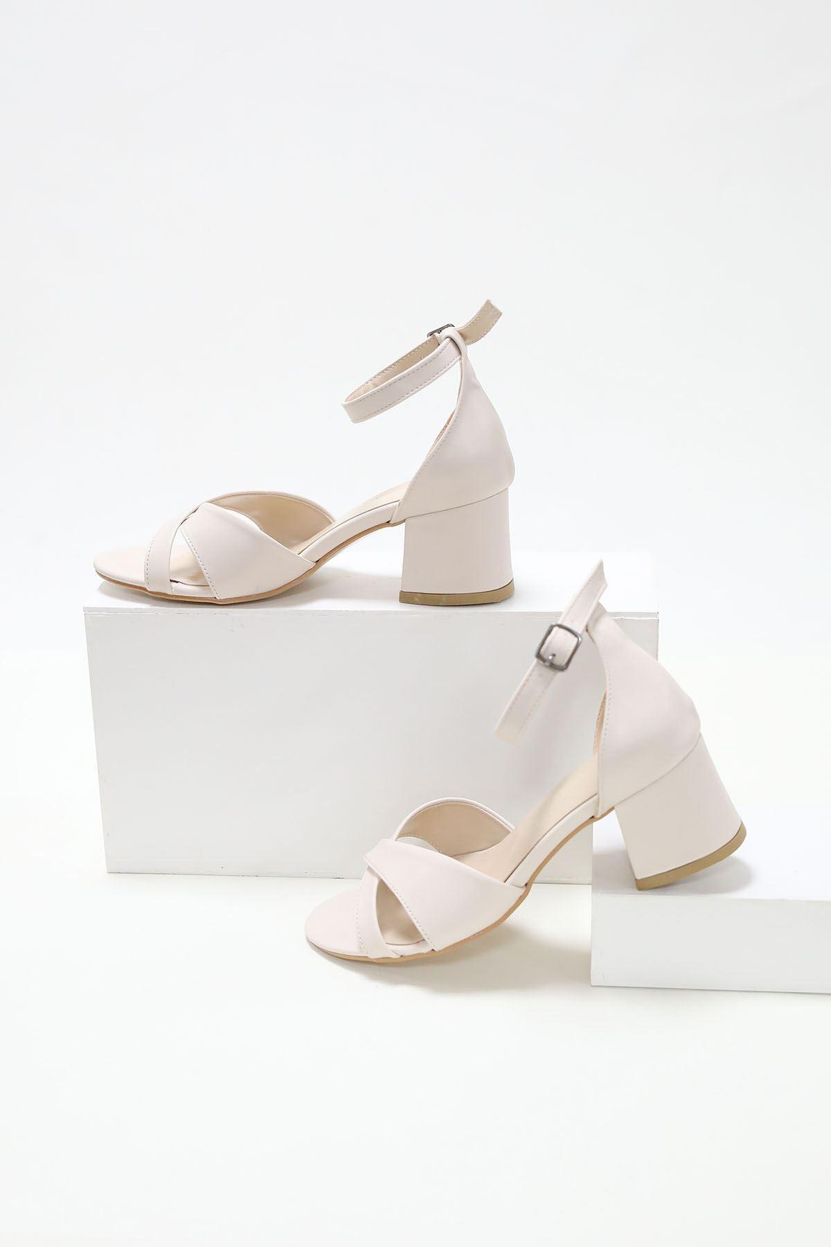 Çapraz Bant 5'lik Platform Krem Ayakkabı