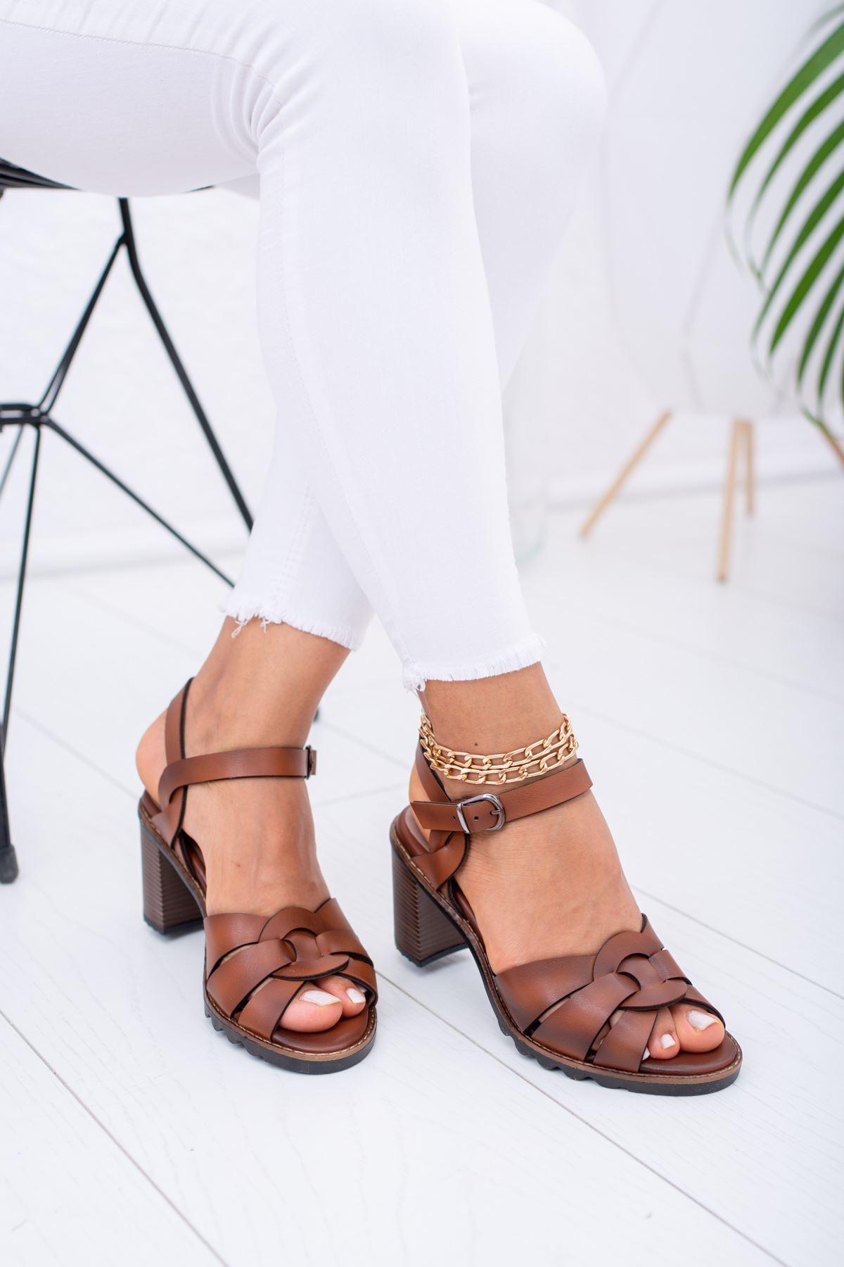 Arkası Taba Açık Ökçeli Sandalet