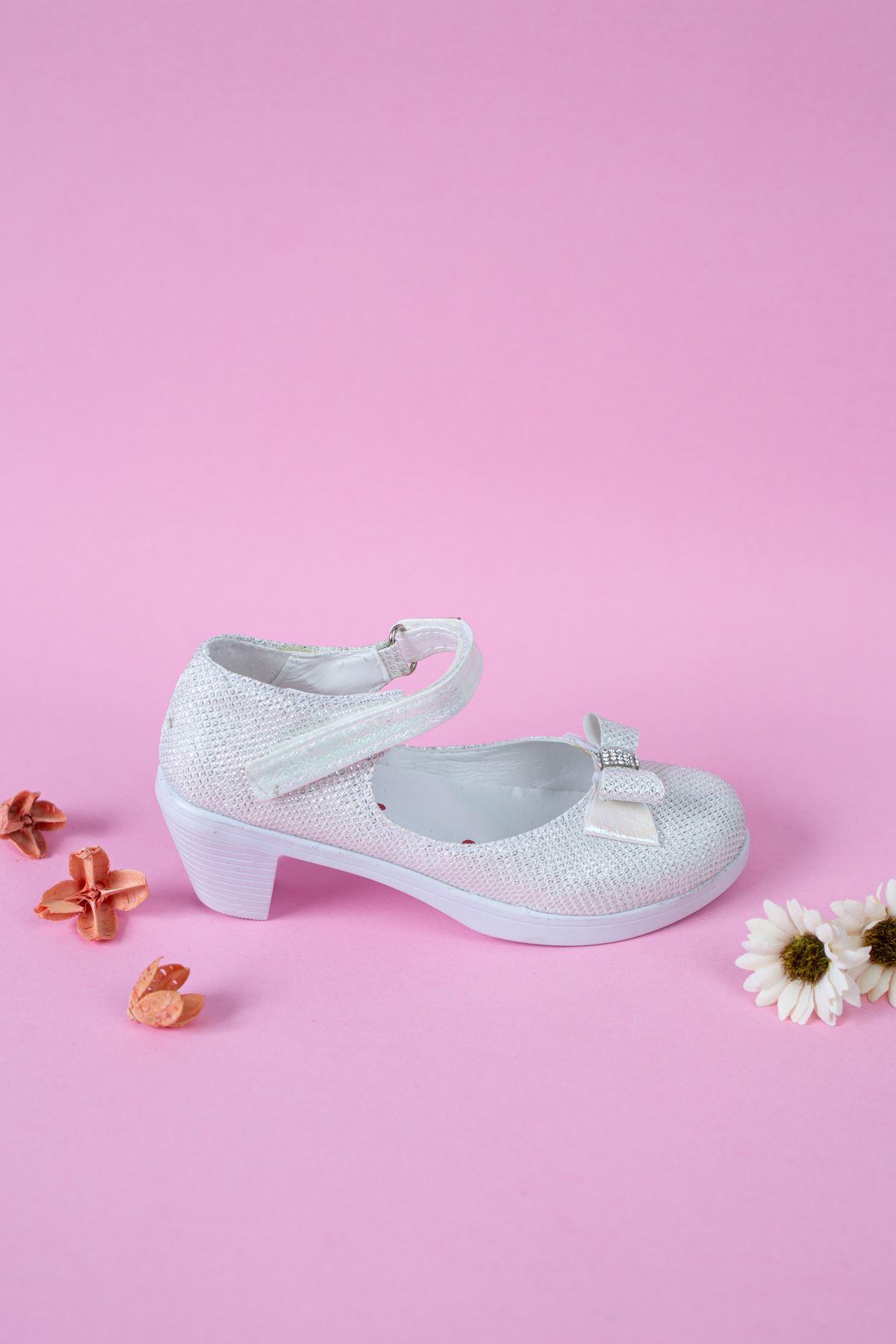 Topuklu  Simli Sedef Karnıyarık Kız Çocuk  Ayakkabı