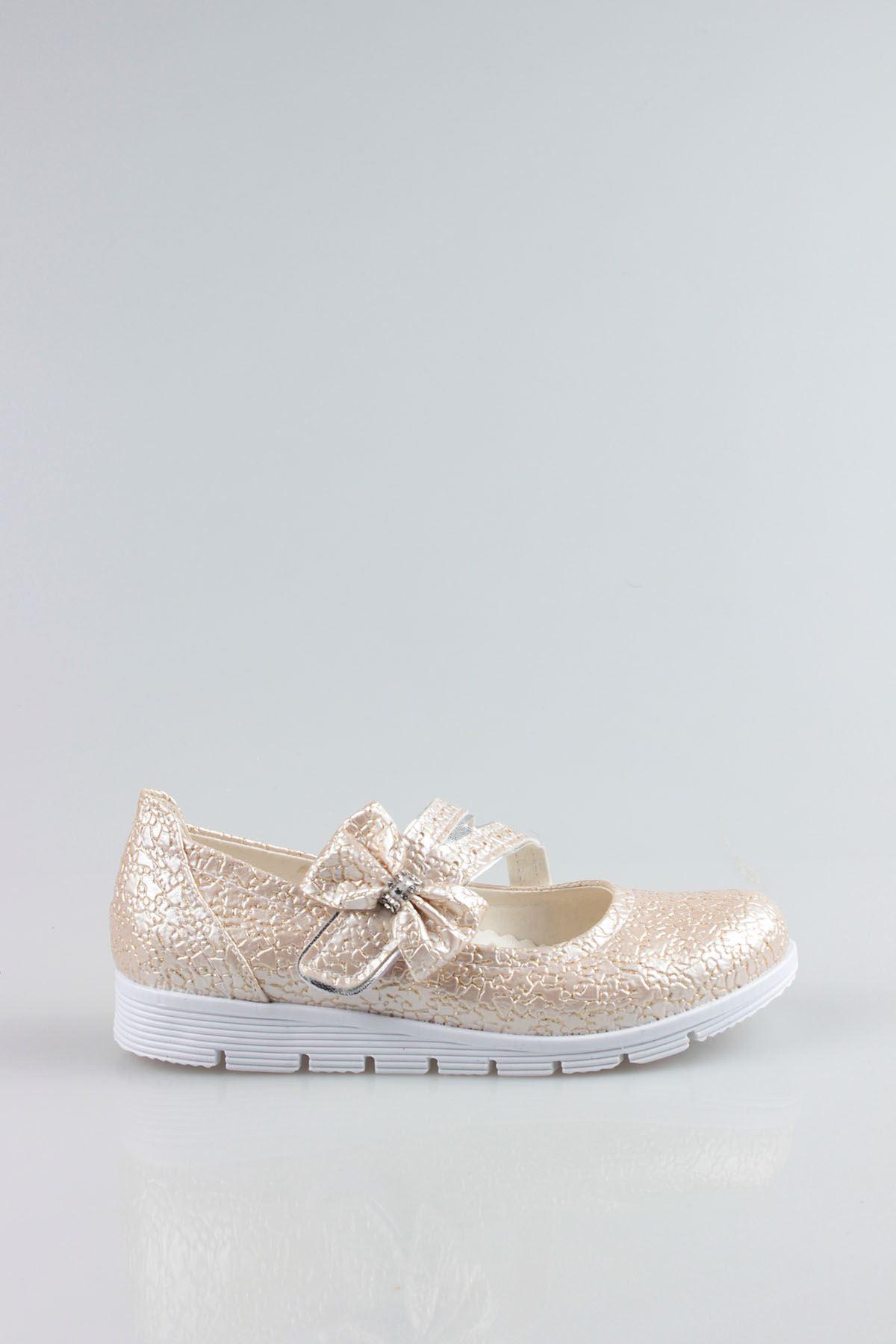 Termo Taban Çatallı Fiyonklu Çatlak Altın Kız Çocuk Ayakkabı