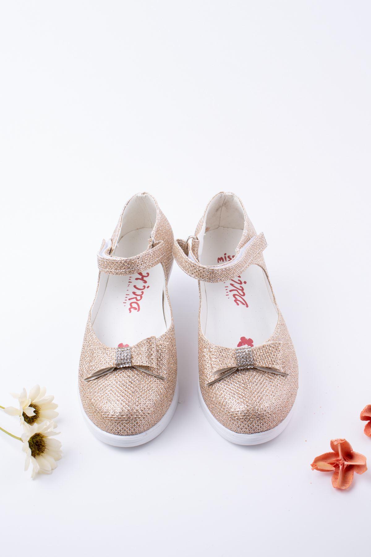 Topuklu Altın Simli Karnıyarık Kız Çocuk  Ayakkabı
