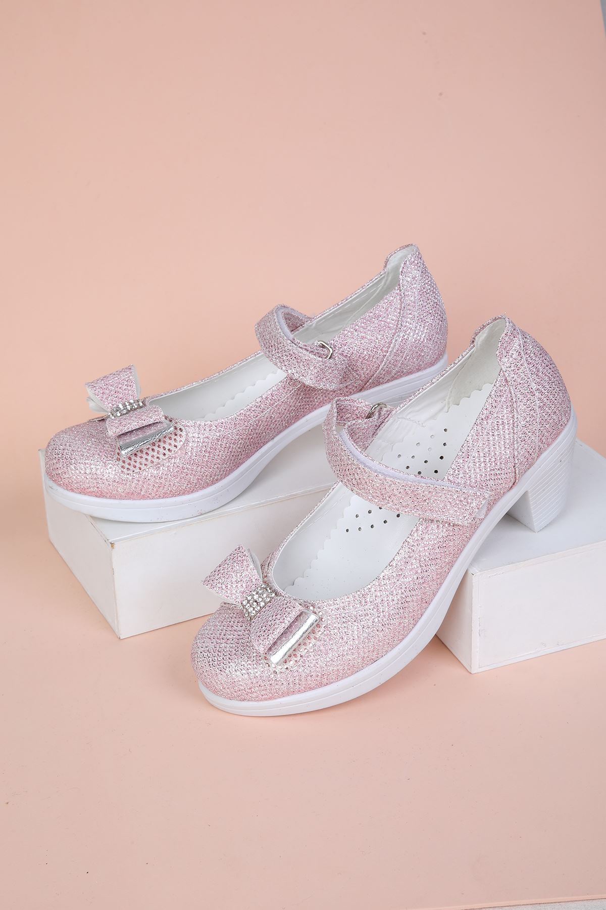 Topuklu Simli Pembe Kız Çocuk Ayakkabı