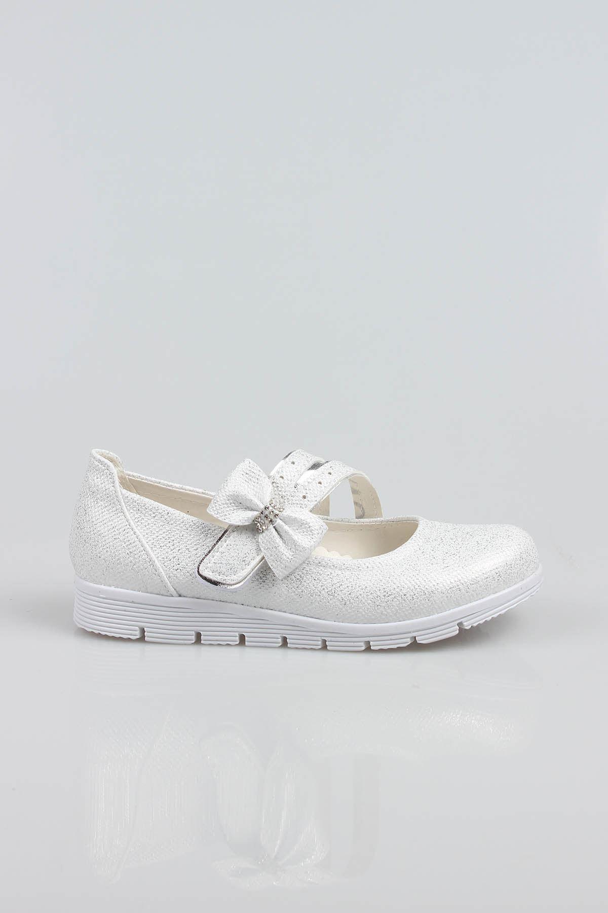Termo Taban Simli Sedef Çatallı Fiyonklu Kız Çocuk Ayakkabı