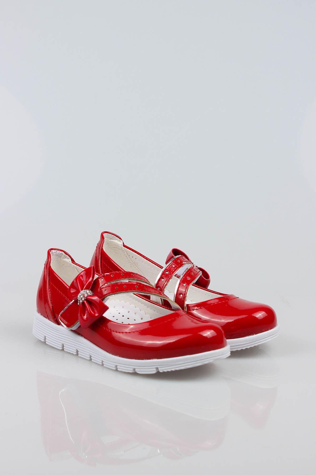 Termo Taban Çatallı Fiyonklu Kırmızı Rugan Kız Çocuk Ayakkabı