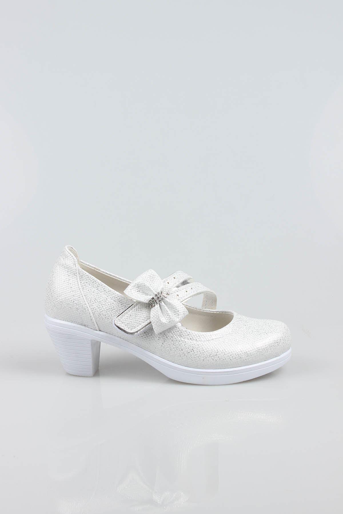 Topuklu Sedef Simli Kız Çocuk Ayakkabı