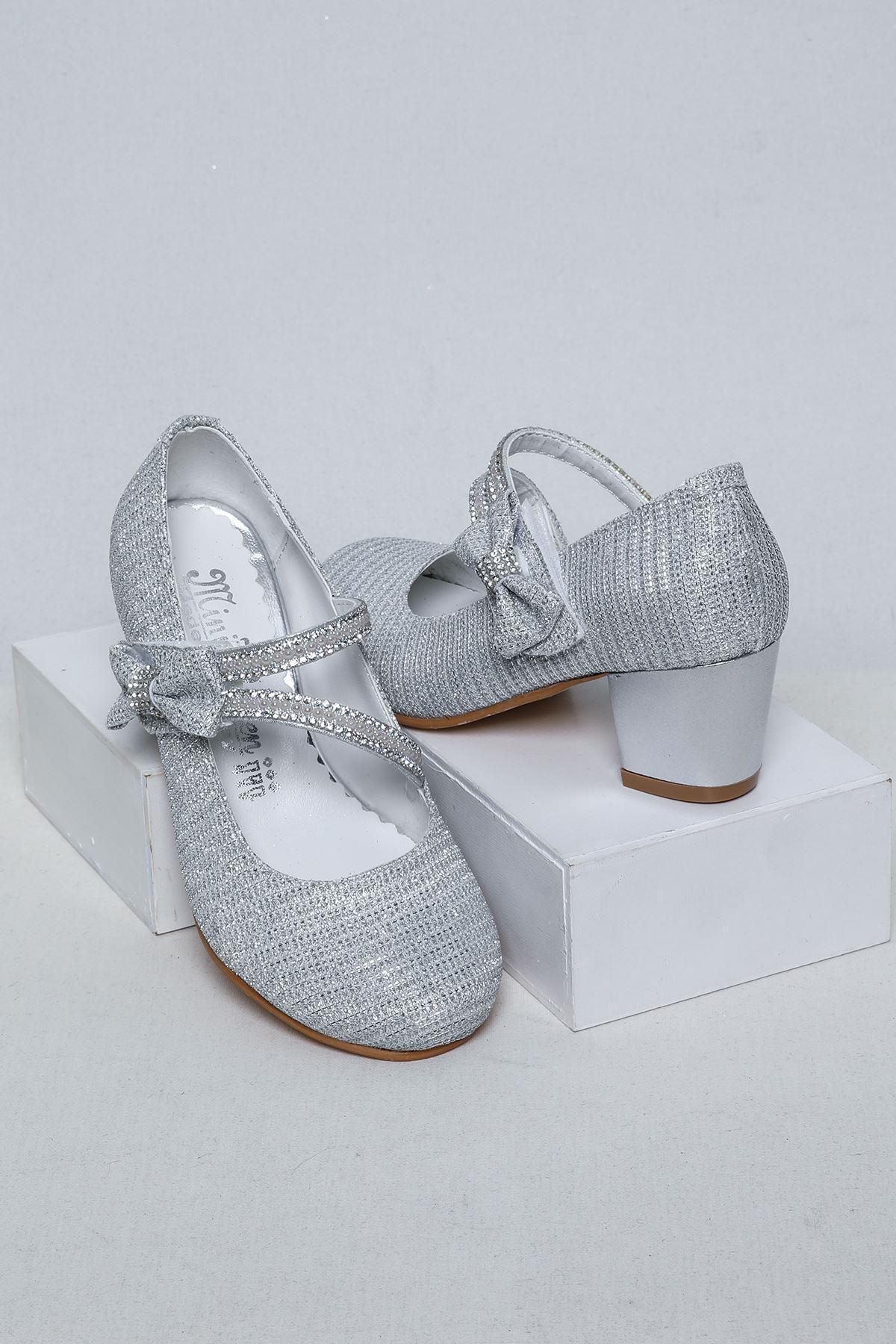 Gümüş Topuklu Kız Çocuk Ayakkabı