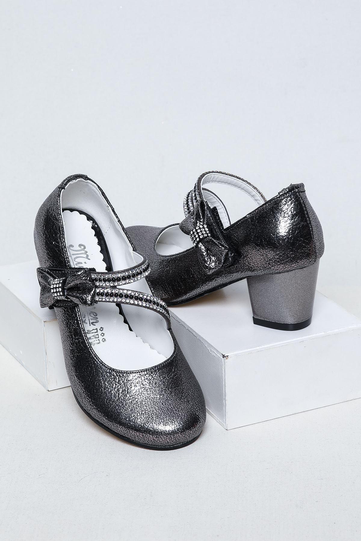 Platin Topuklu Kız Çocuk Ayakkabı