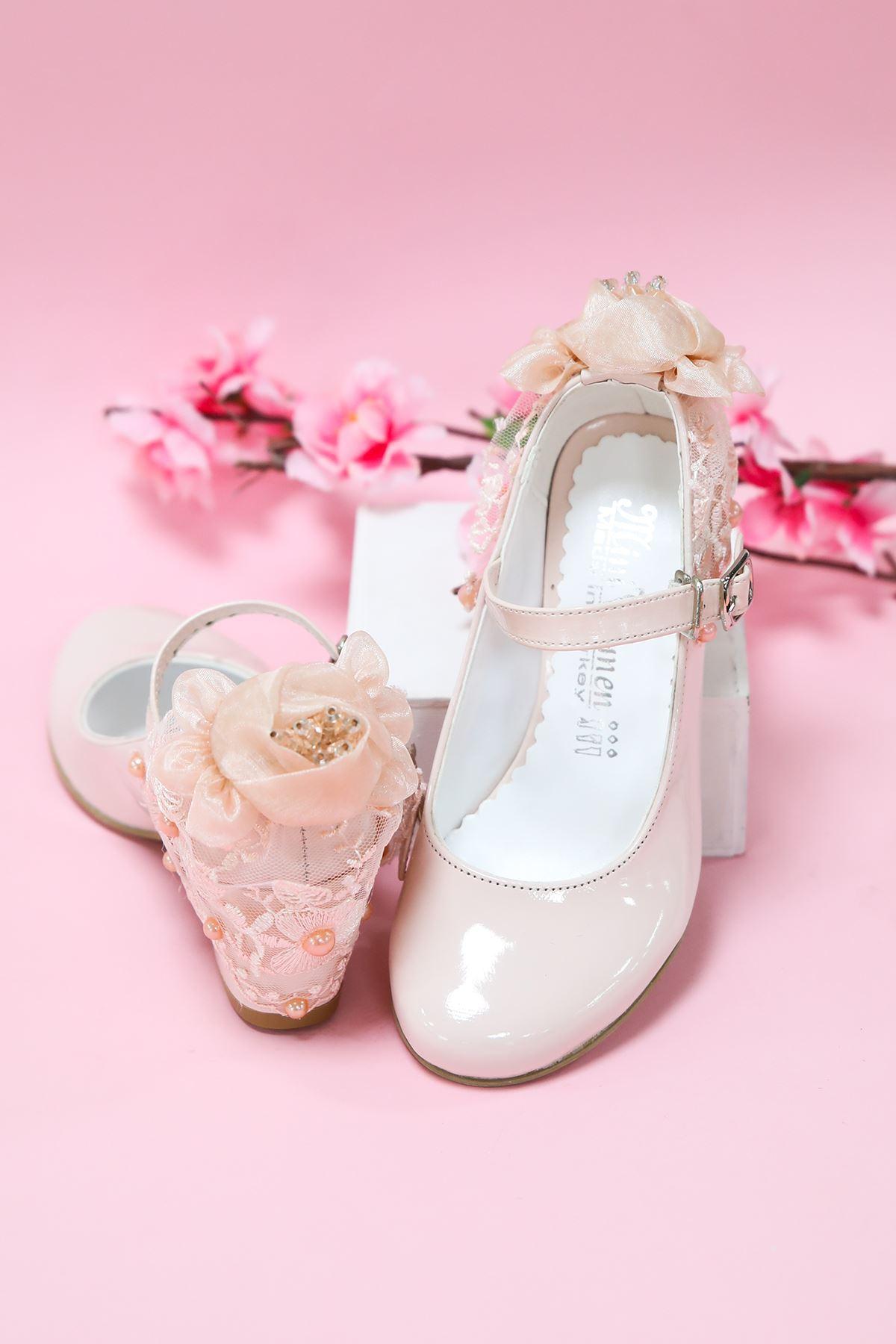 Topuklu Pembe Rugan Kız Çocuk Ayakkabı