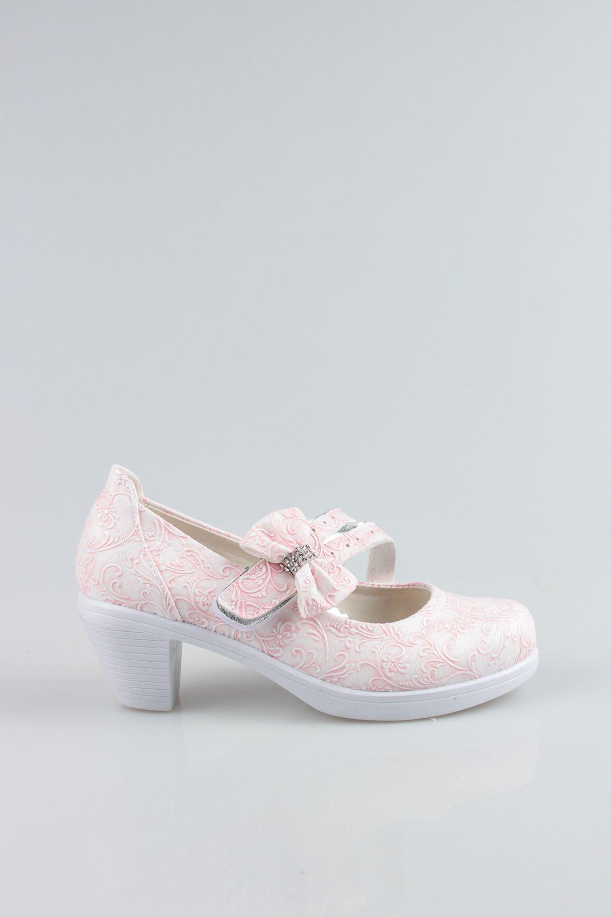 Topuklu Pembe Sarmaşık Kız Çocuk Ayakkabı