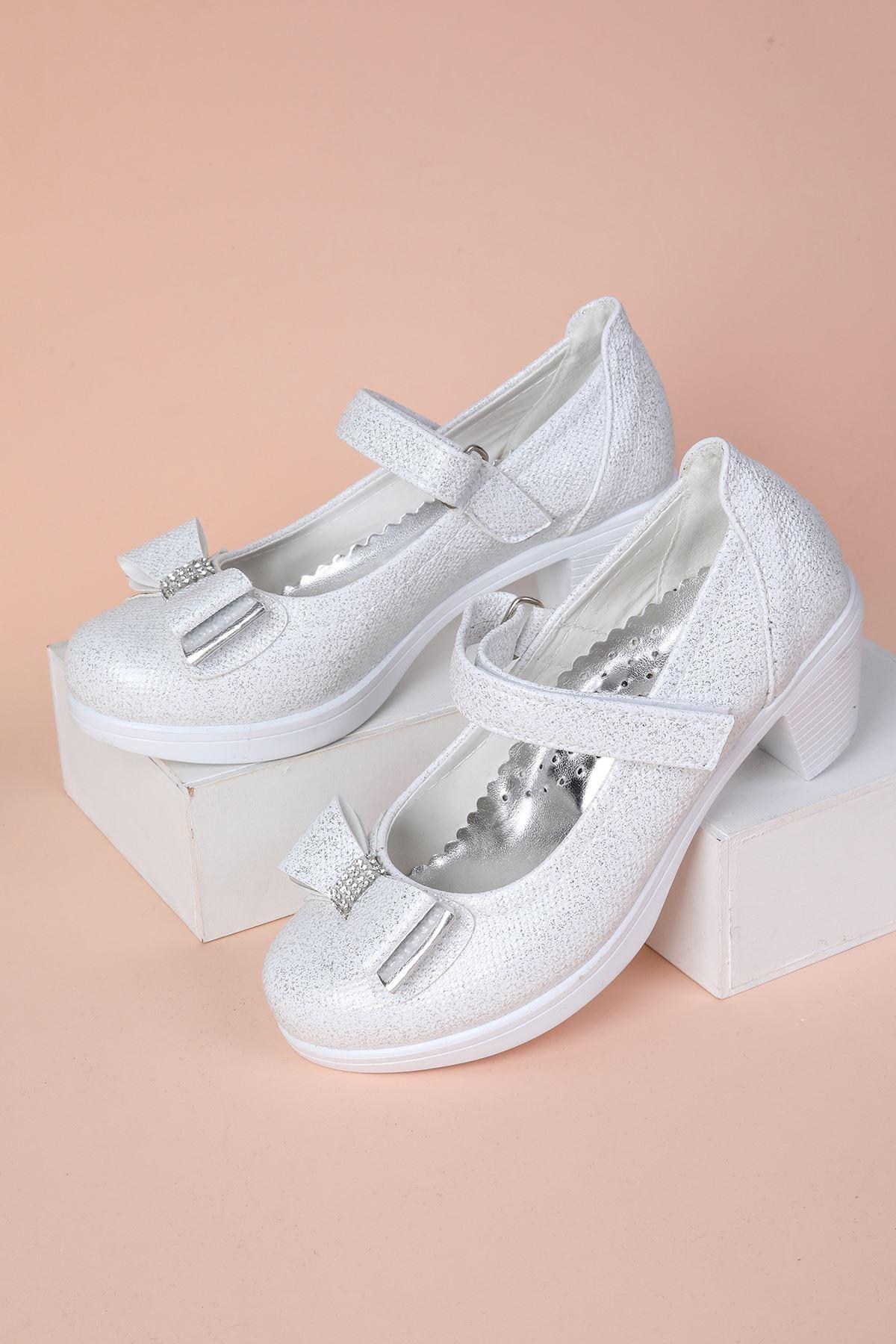 Topuklu Kendinden Simli Kız Çocuk Ayakkabı