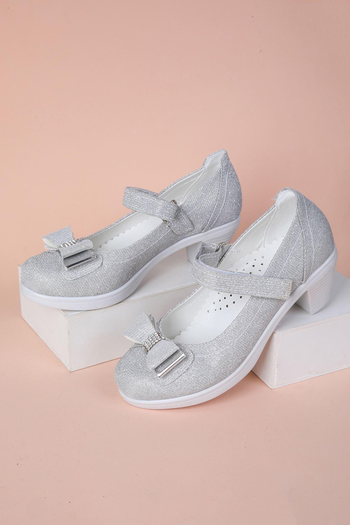 Topuklu Gümüş Simli Kız Çocuk Ayakkabı
