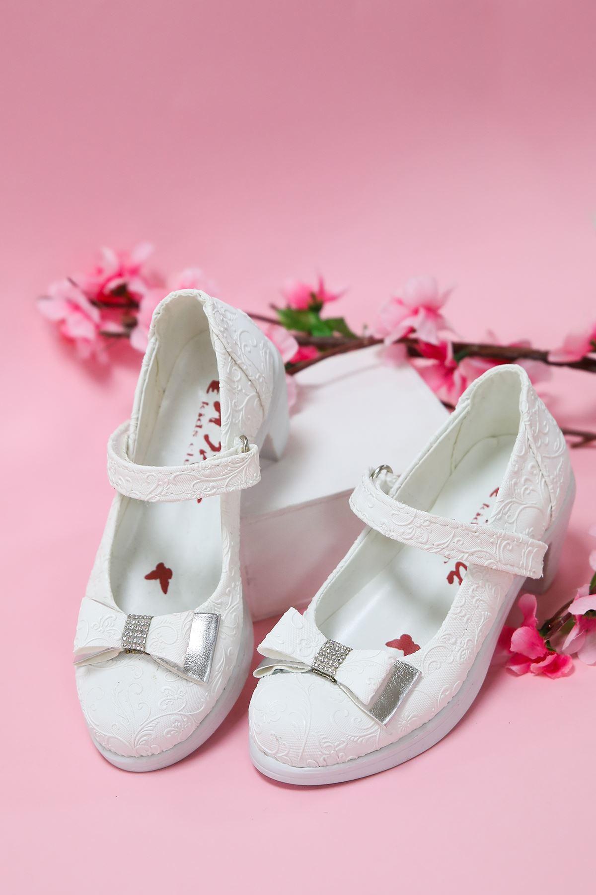 Topuklu  Sarmaşık  Beyaz Kız Çocuk Ayakkabı