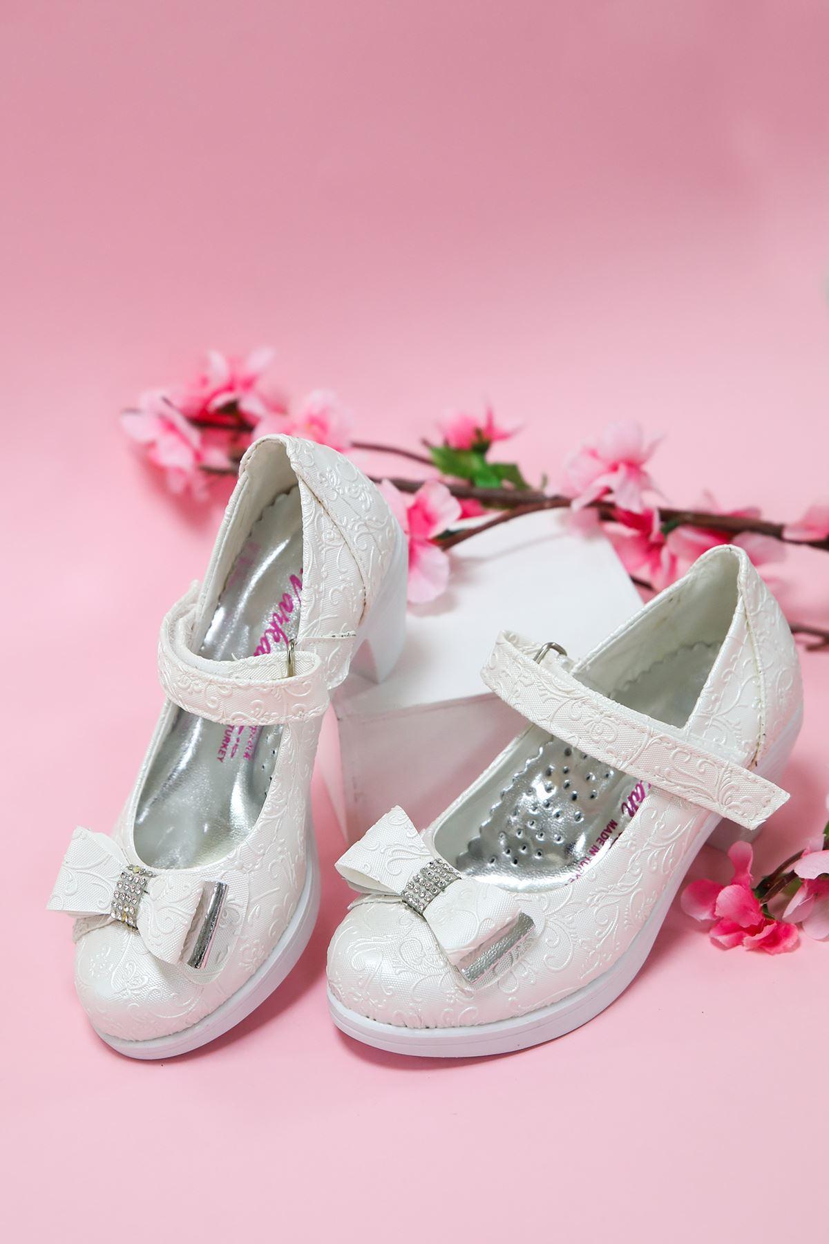 Topuklu Sedef Sarmaşık Kız Çocuk Ayakkabı