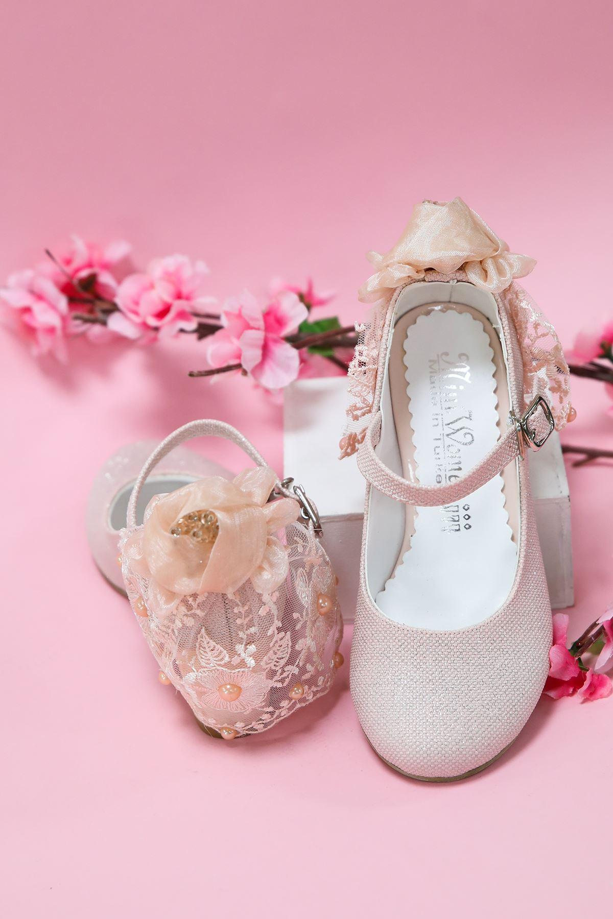 Topuklu Pudra Simli Kız Çocuk Ayakkabı