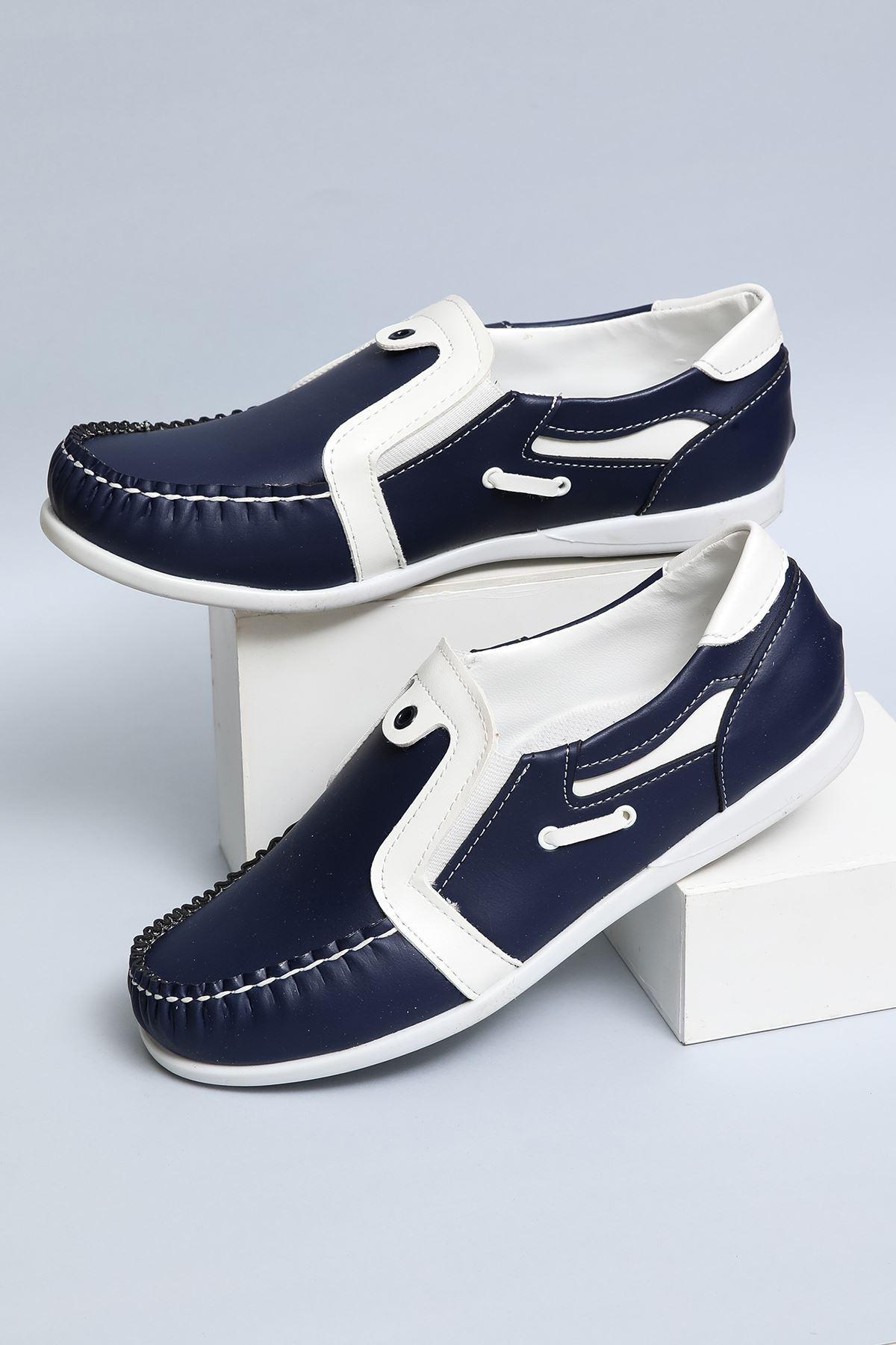 Laciverte Beyaz Garnili Erkek Çocuk Ayakkabı