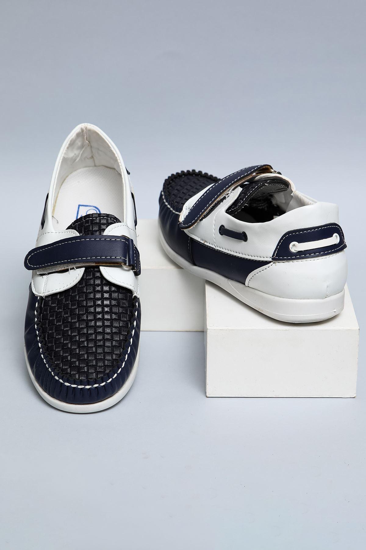 Laciverte Beyaz Garnili Örgülü Cırtlı Erkek Çocuk Ayakkabı