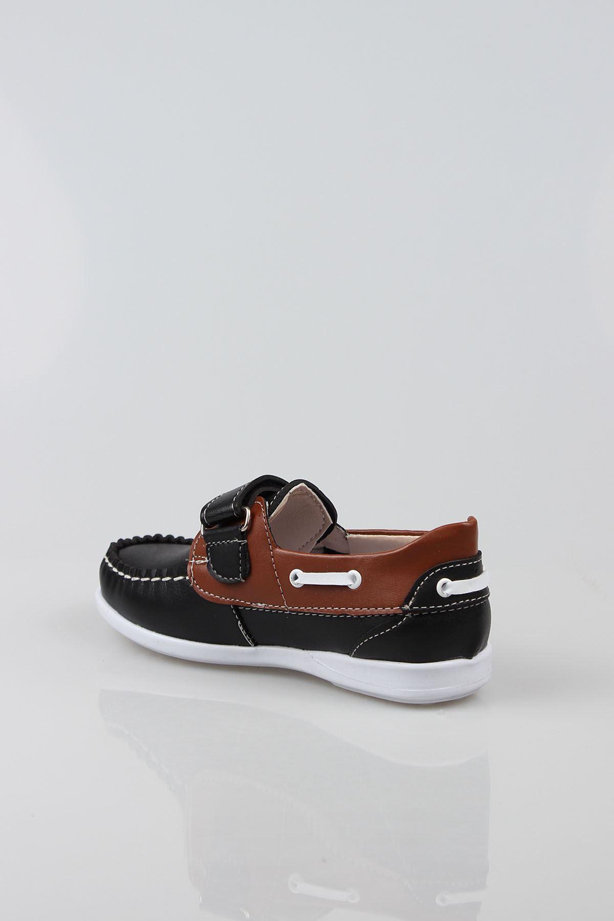 Siyaha Taba Garnili Cırtlı Erkek Çocuk Ayakkabı