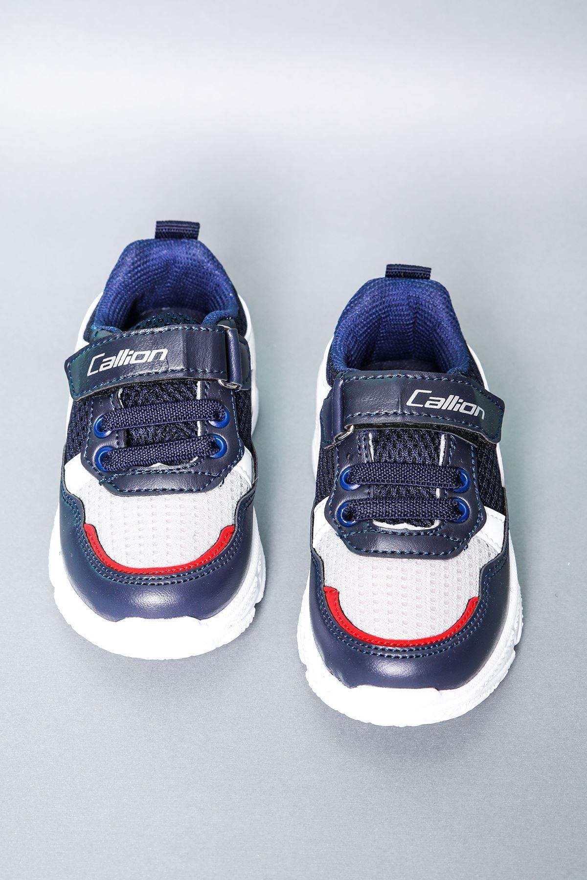 Gri Fileli Lacivert Çocuk Spor Ayakkabı