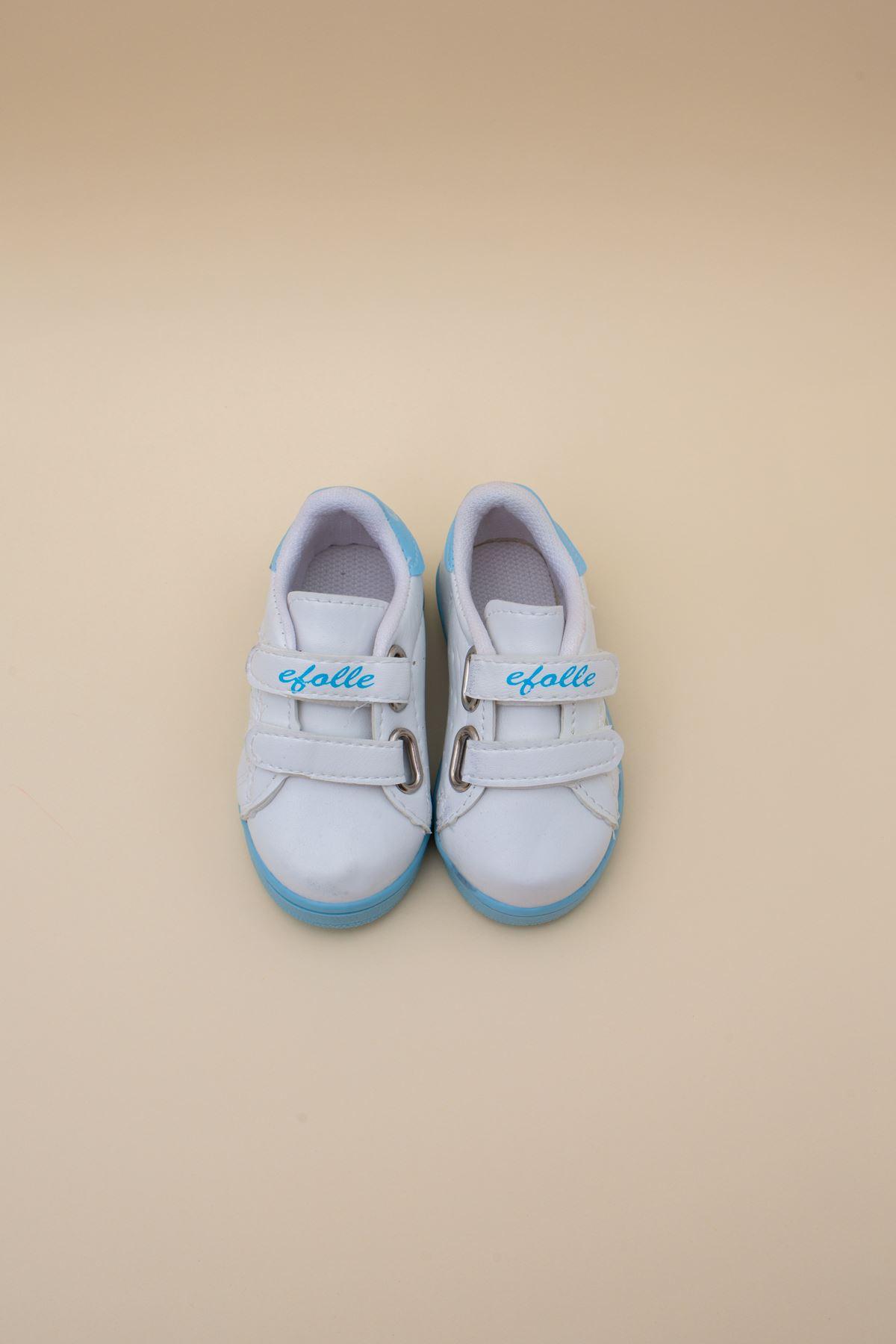 Beyaz Yanı Mavi Şeritli Bebe Ayakkabı