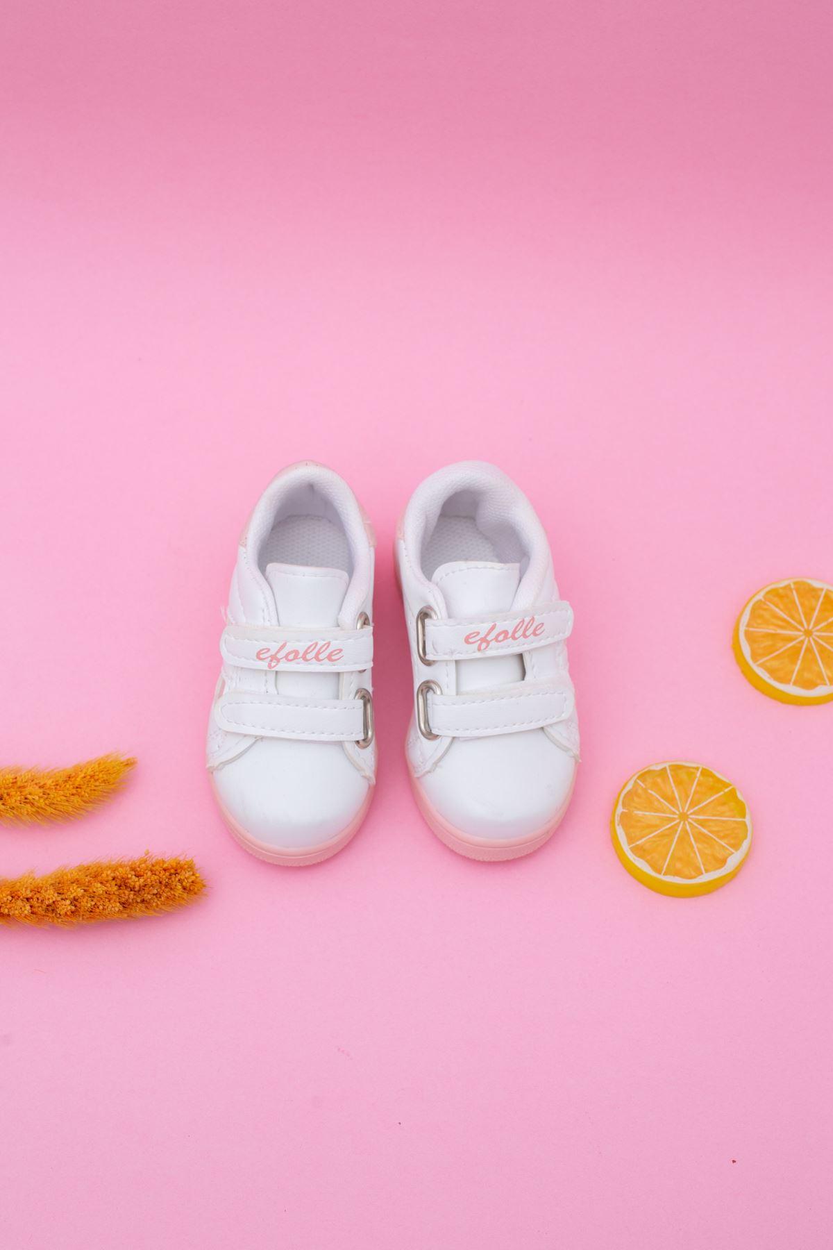 Beyaz Yanı Pudra Şeritli Bebe Ayakkabı