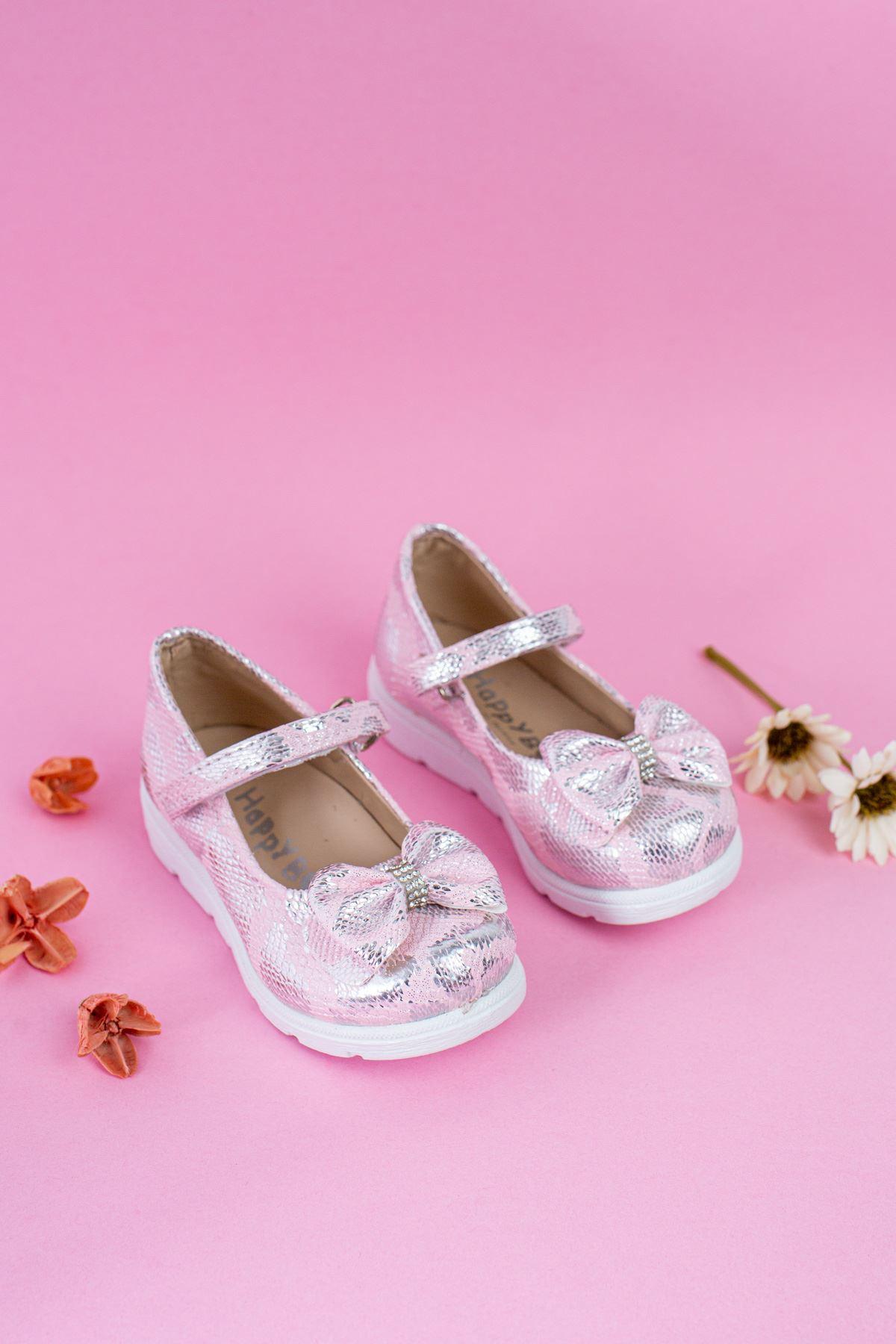 Poli Taban Yılan Baskılı Pembe Bebe Ayakkabı