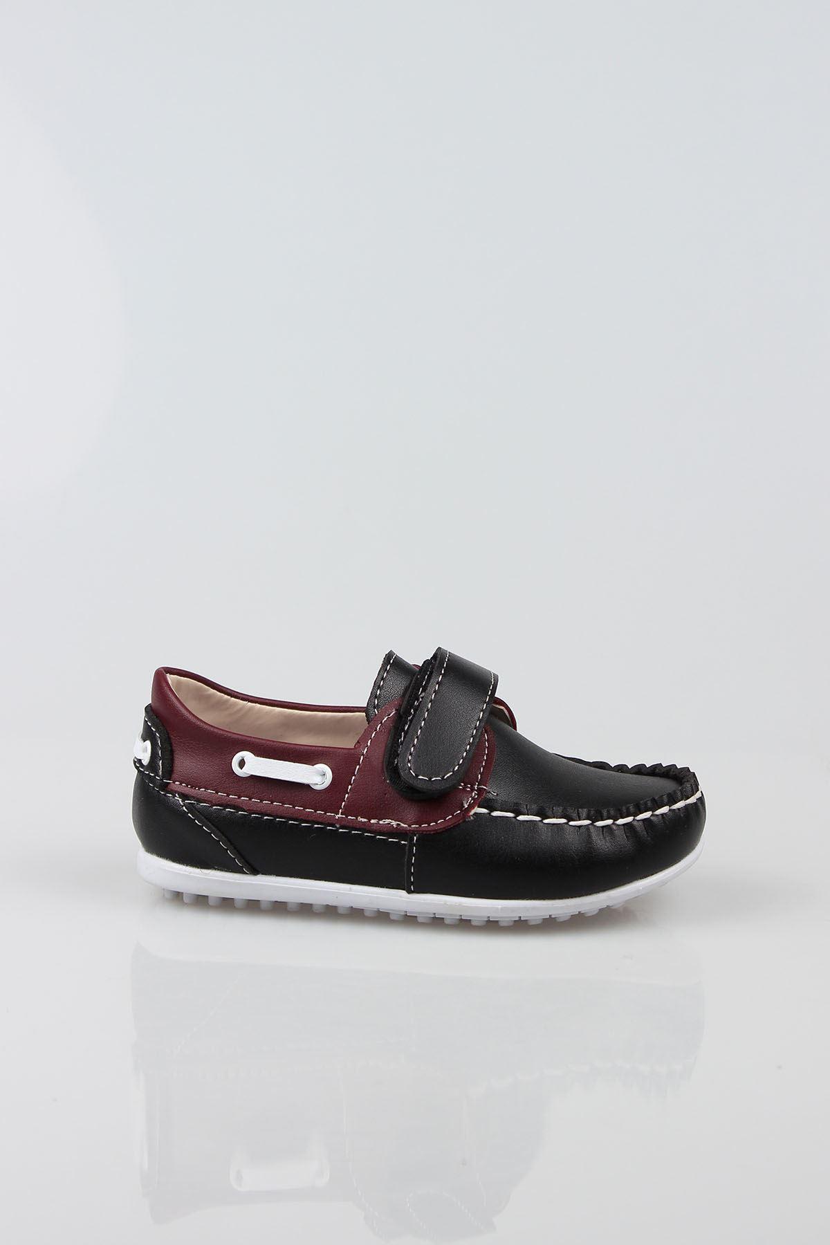 Siyaha Bordo Garnili Cırtlı Erkek Bebe Ayakkabı