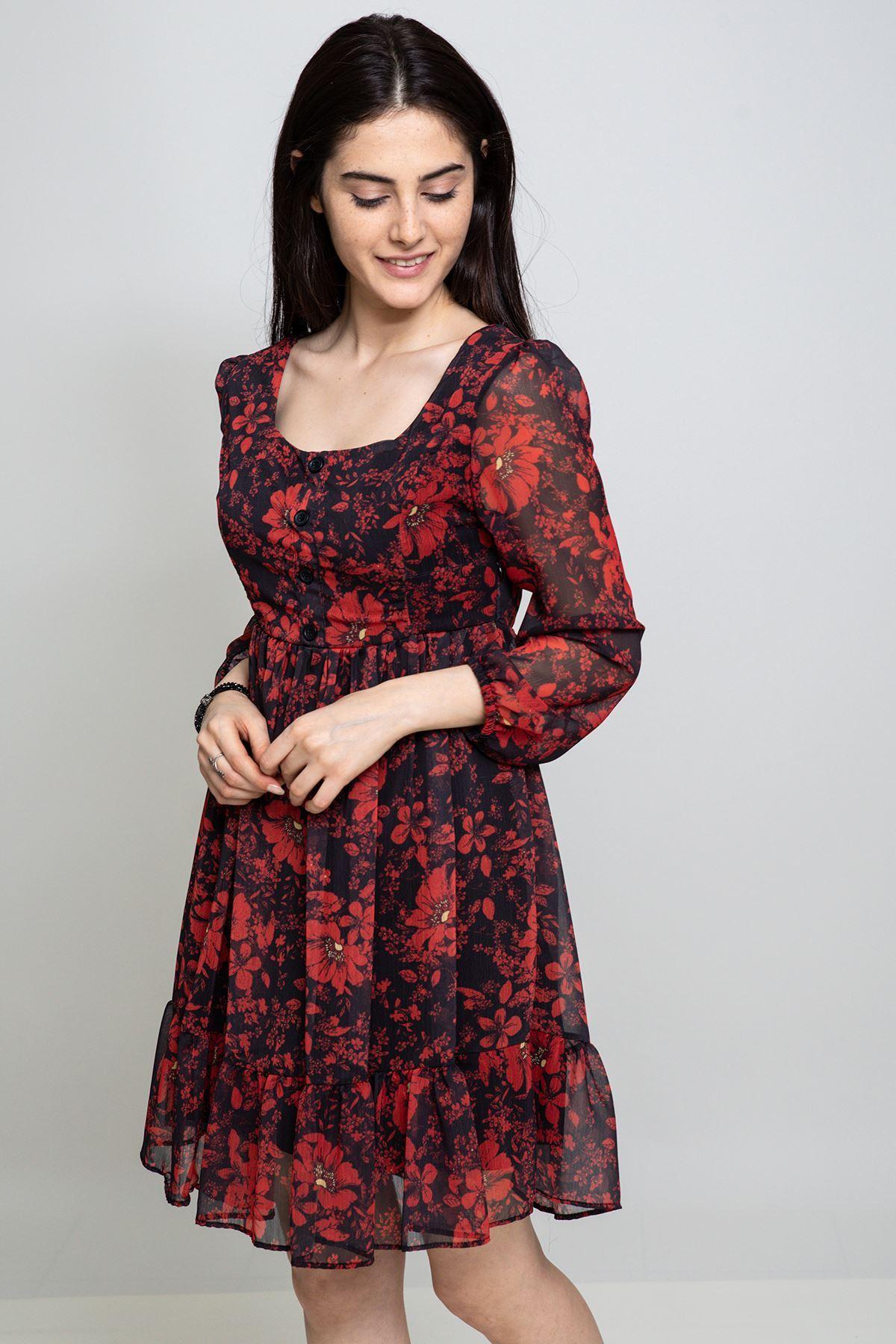 Gül Desenli Şifon Elbise