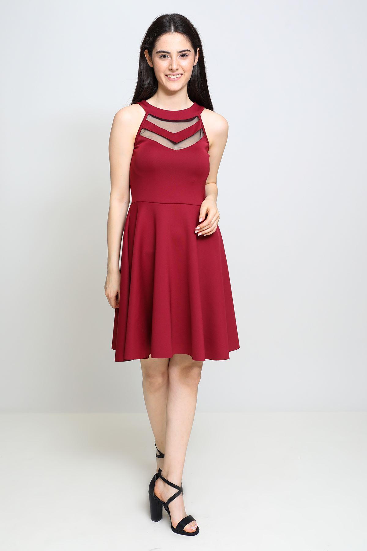 Göğsü Tül Detaylı Floş Elbise