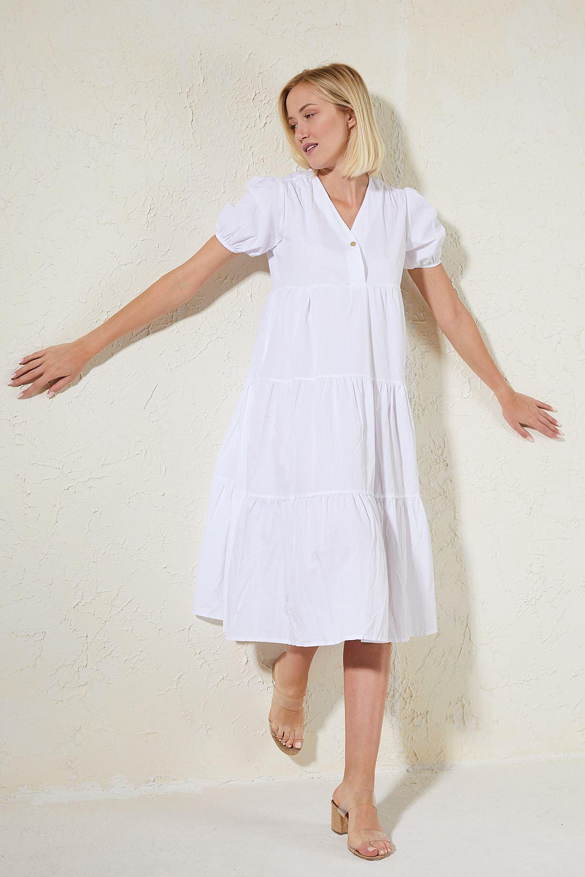 Büzgülü Yarım Kol Elbise