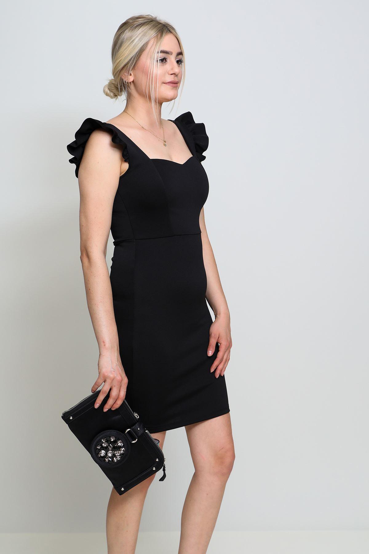 Kolu Fırfırlı Dalgıç Kumaş Kalem Elbise