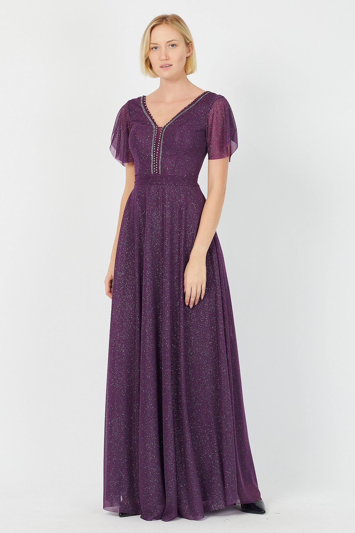 Göğsü Taşlı Simli Uzun Abiye Elbise