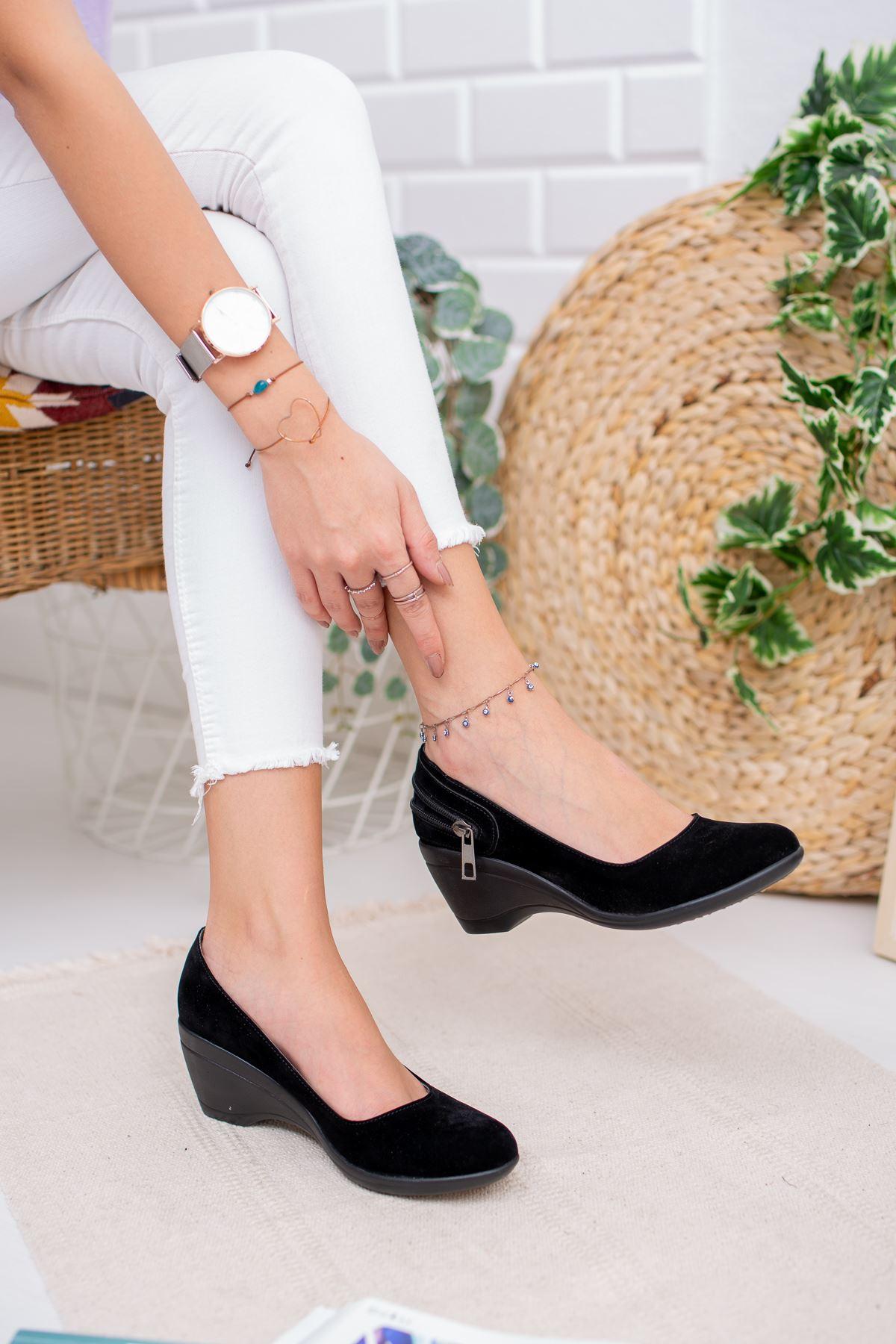 Dolgu Taban Arkası Fermuarlı Kadın Ayakkabı