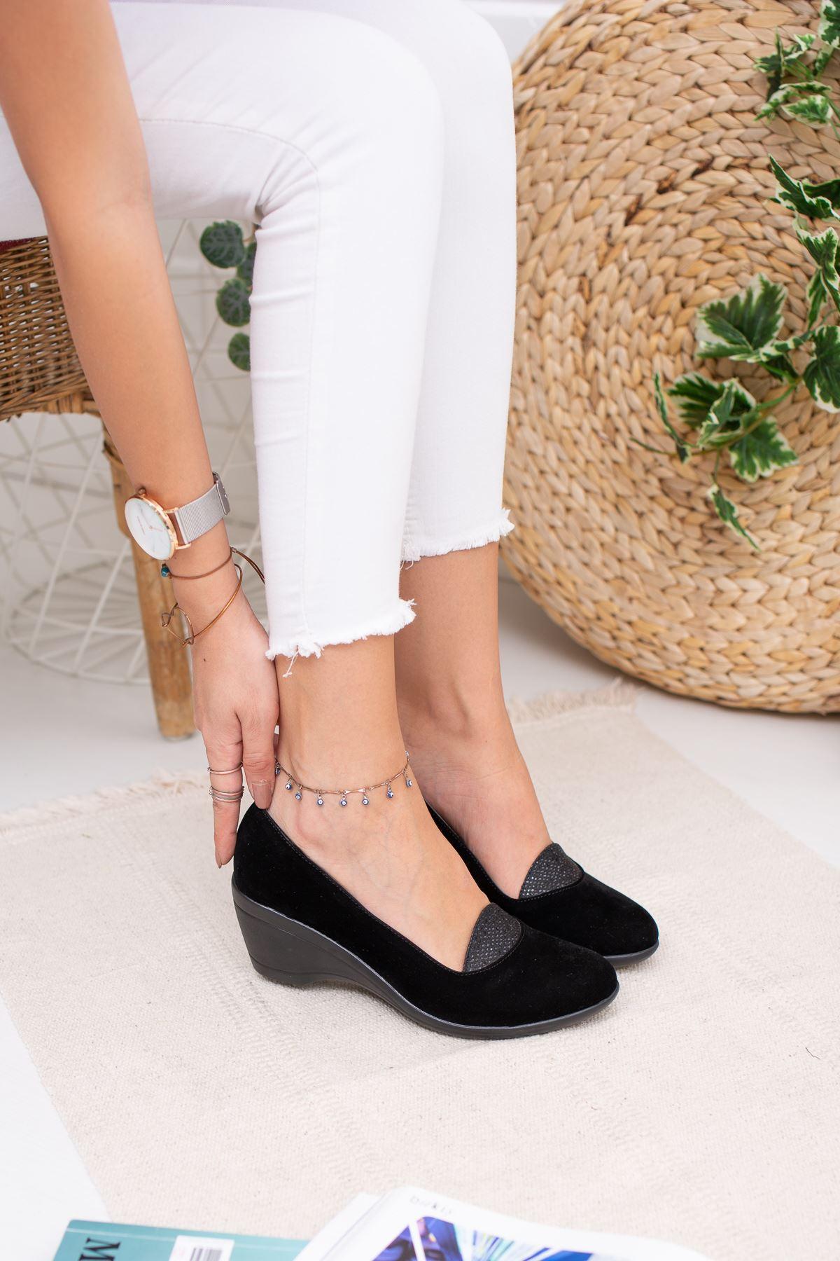Dolgu Taban Dili Simli Kadın Ayakkabı