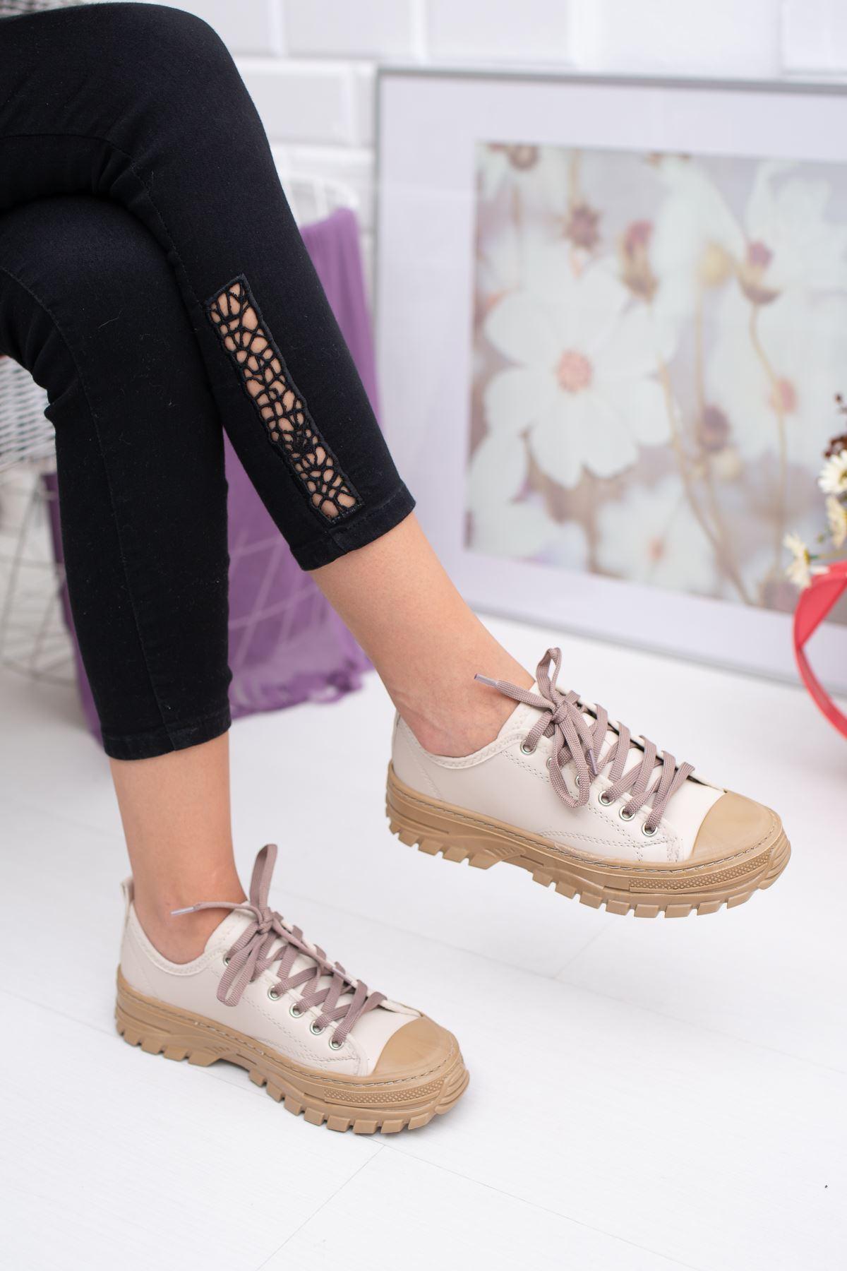 Bağcıklı Krem Cilt Spor Ayakkabı